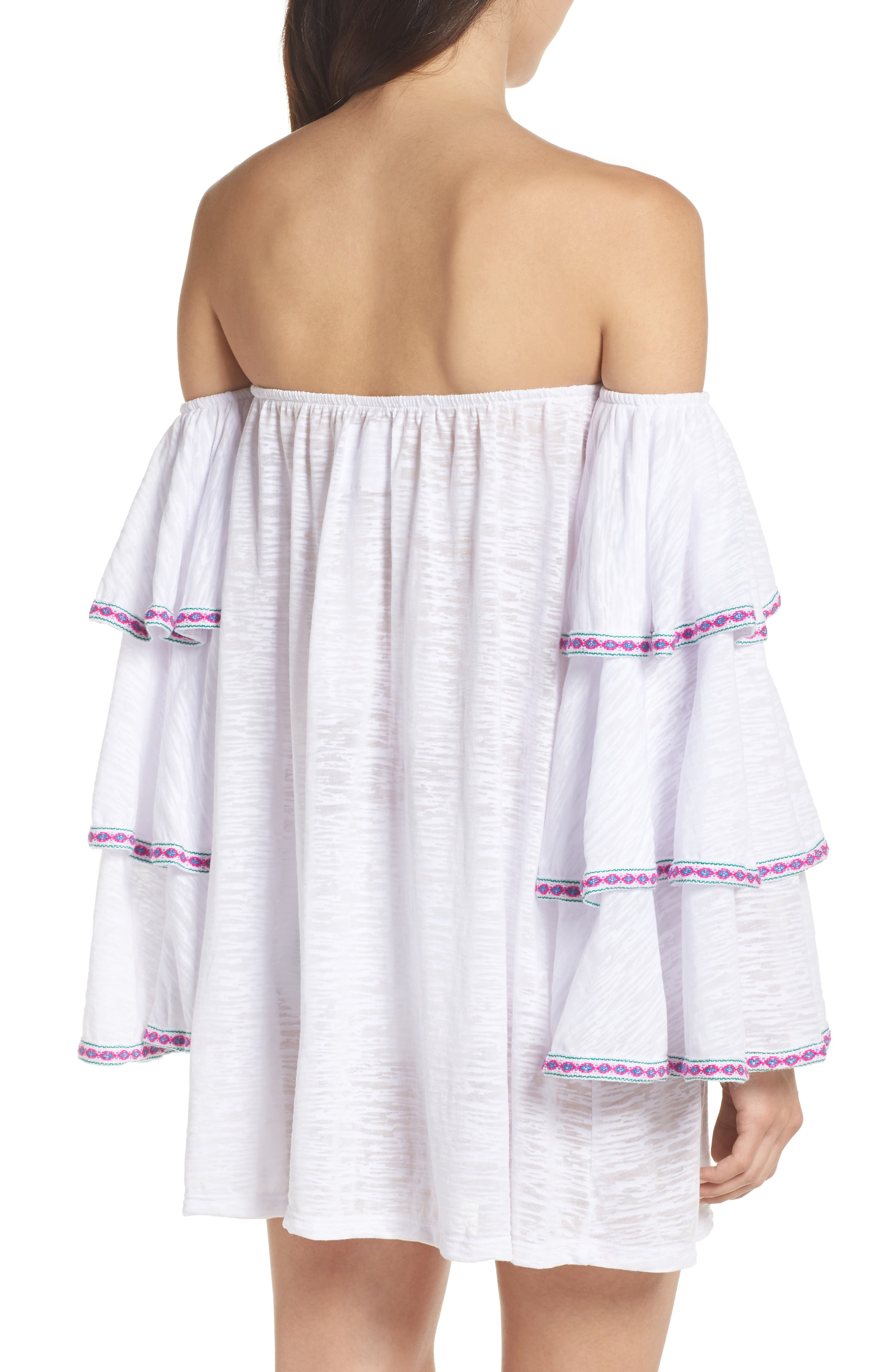 Off the Shoulder Cover-Up Dress,                             Alternate thumbnail 2, color,                             White