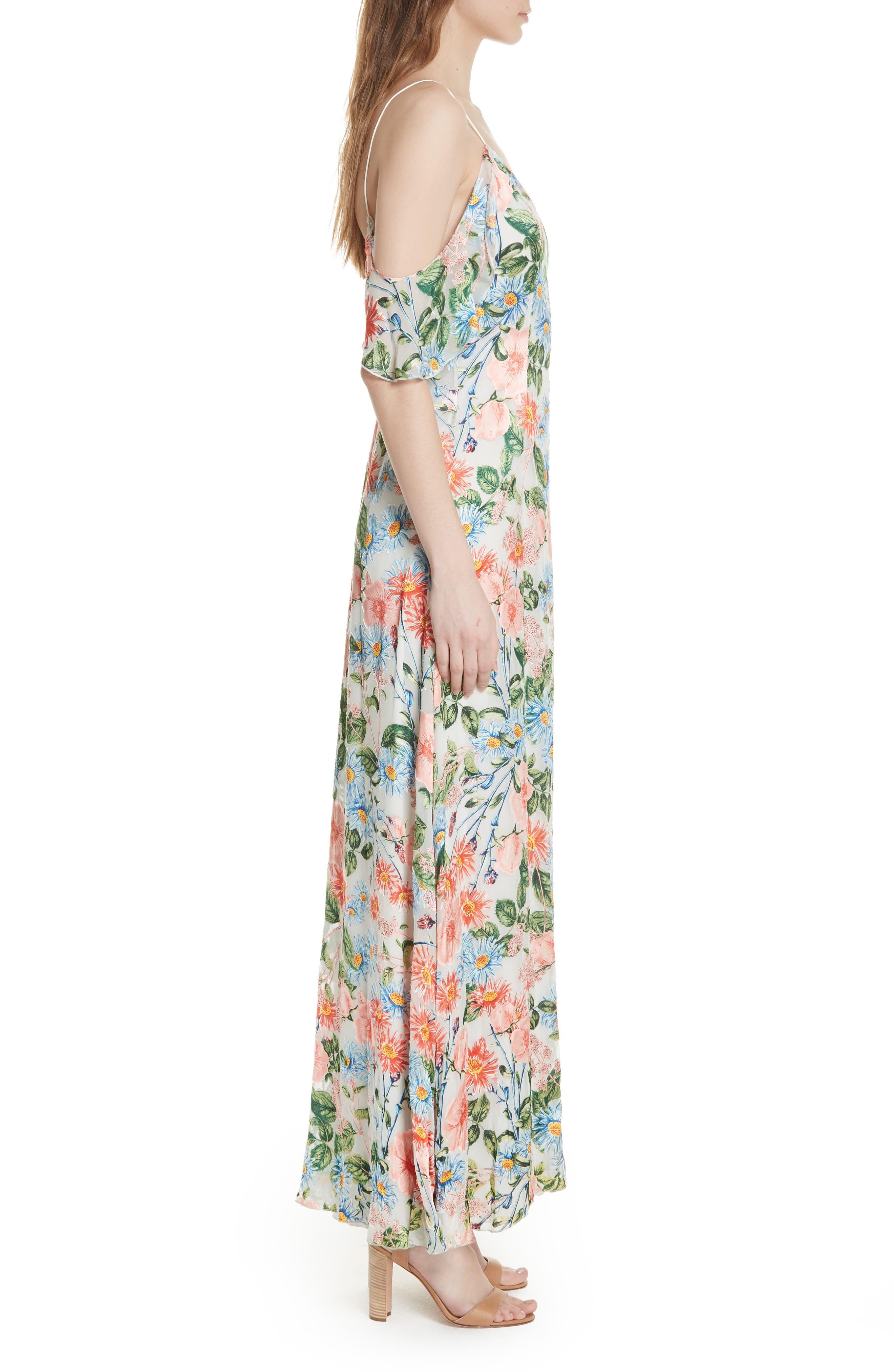 Alves Floral Cold Shoulder Maxi Dress,                             Alternate thumbnail 3, color,                             Floral Fields