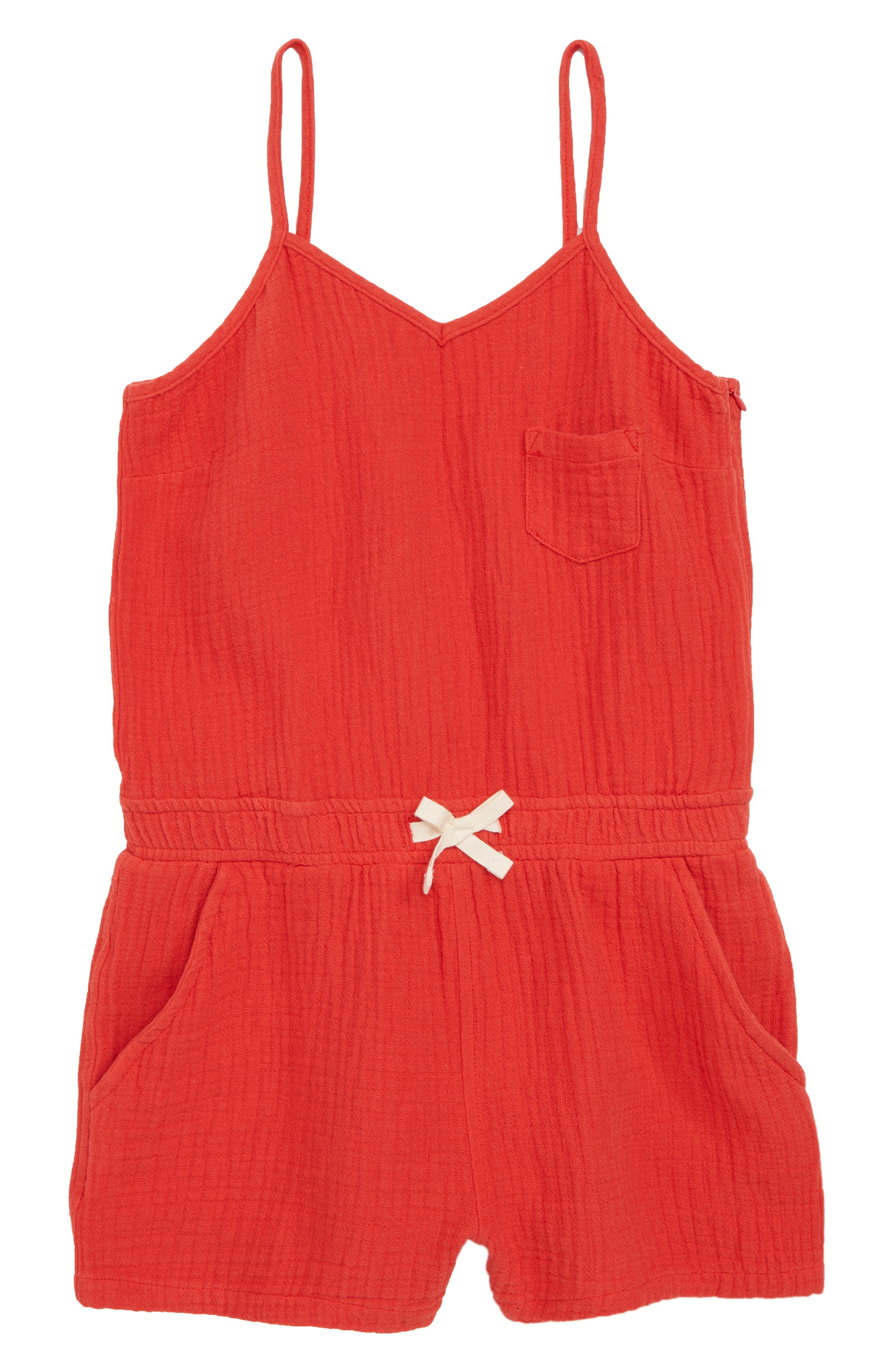 Linen Blend Romper,                             Main thumbnail 1, color,                             All Fired Up