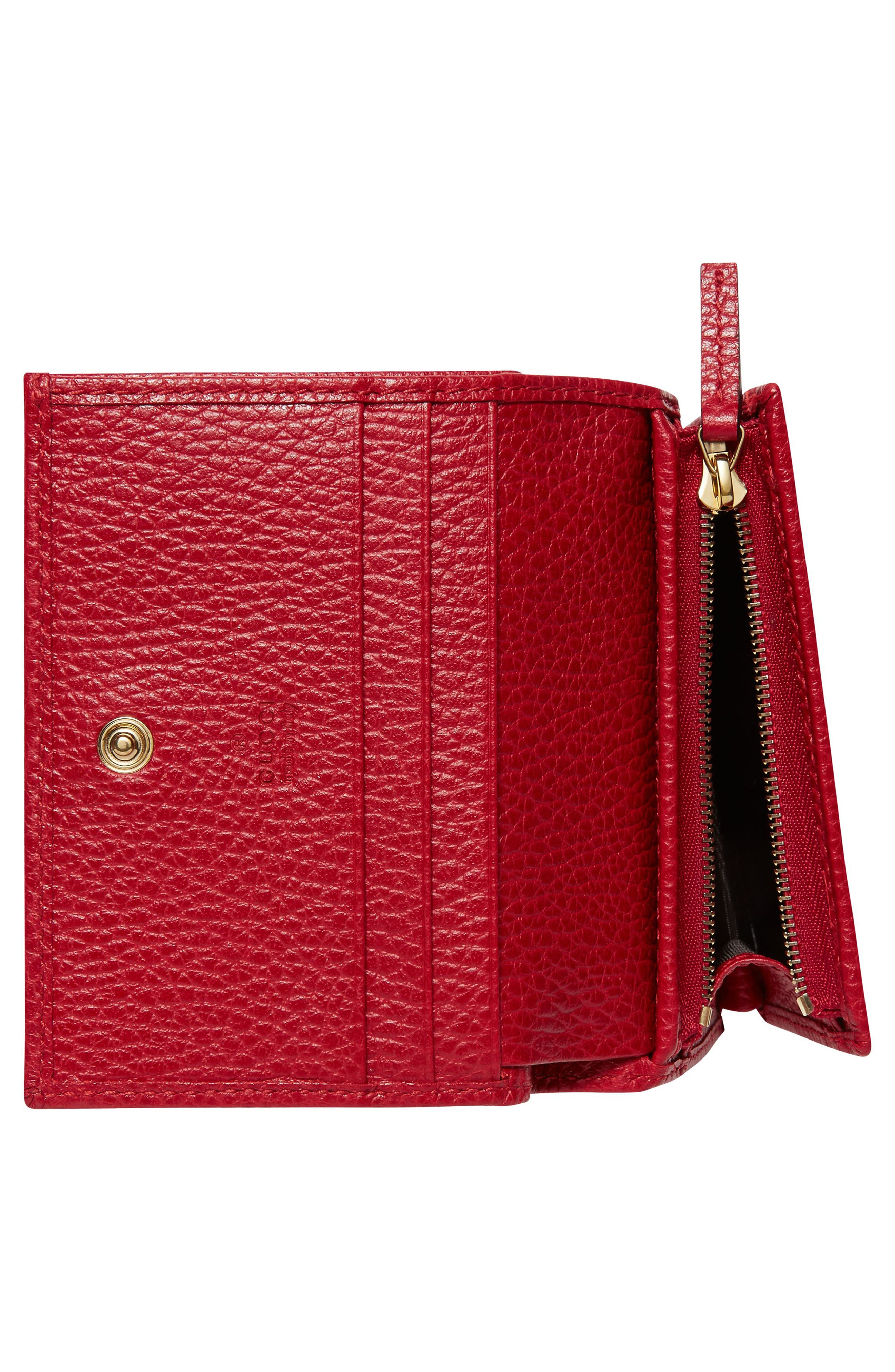Petite Marmont Leather Card Case,                             Alternate thumbnail 3, color,                             Hibiscus Red