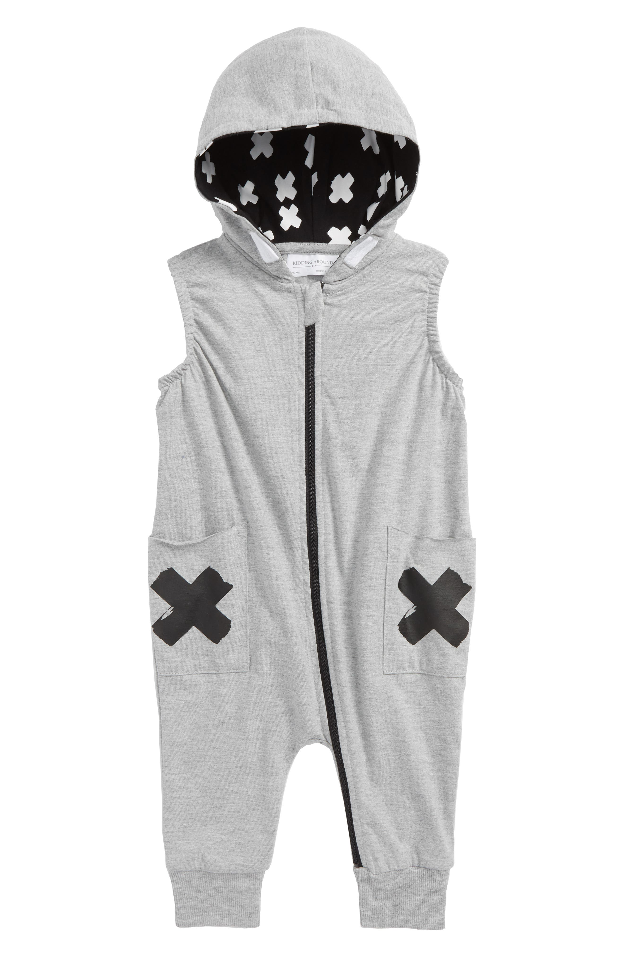 Sleeveless Hooded Romper,                         Main,                         color, X Grey