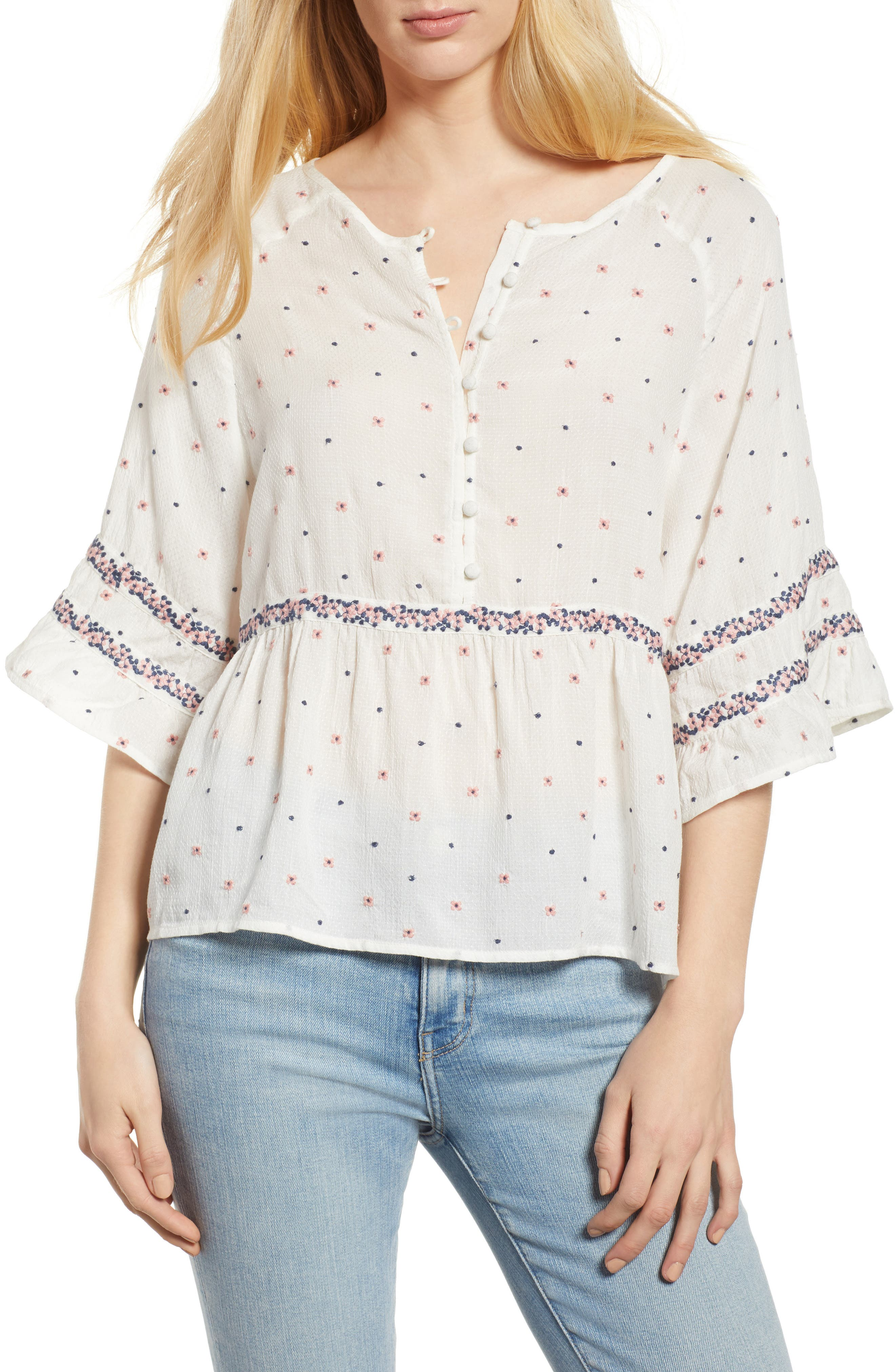 Velvet by Graham & Spence Embroidered Babydoll Blouse,                         Main,                         color, Multi