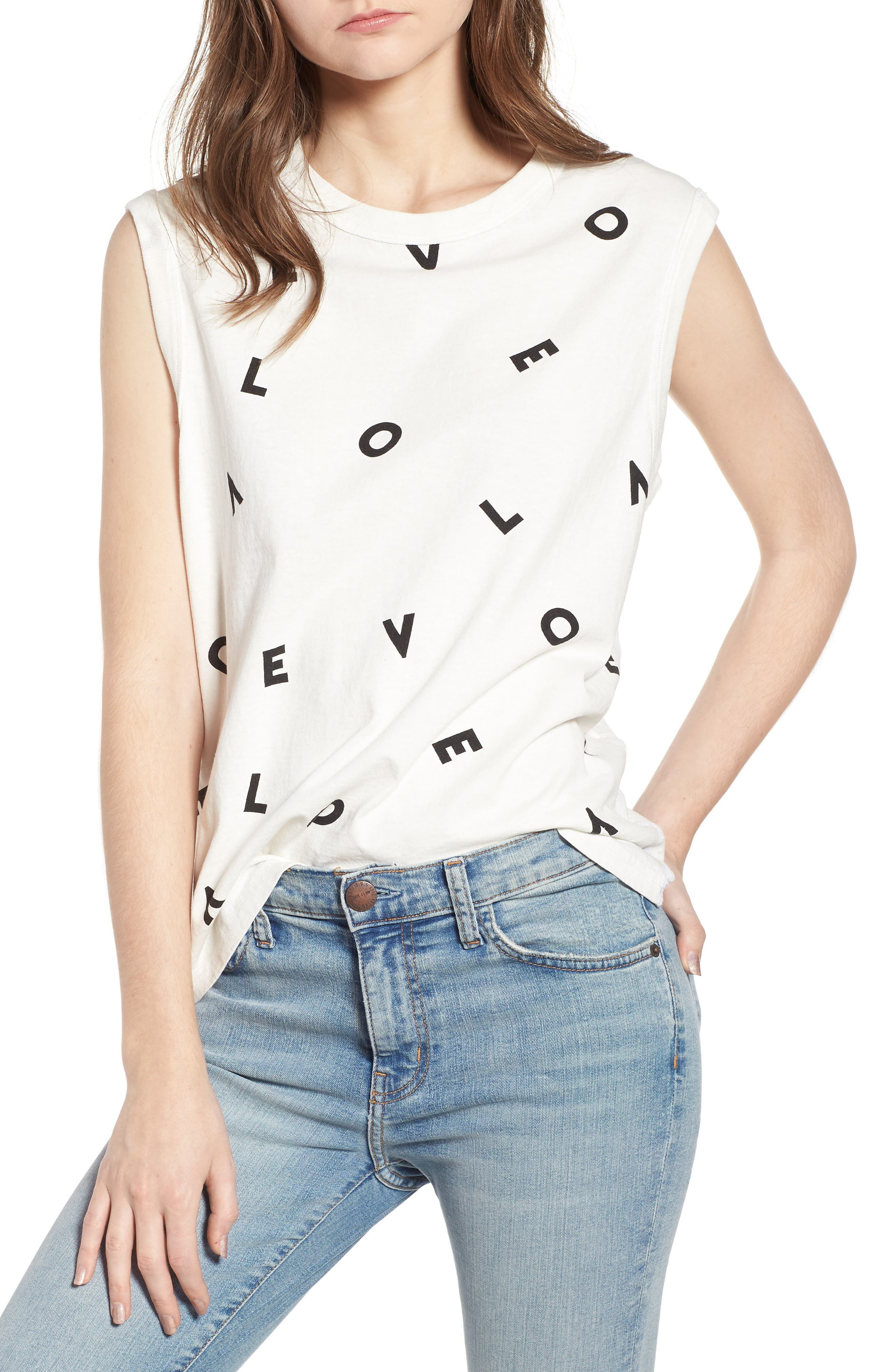 The Muscle Tee Love Tank,                             Main thumbnail 1, color,                             Love Letters Destroy White