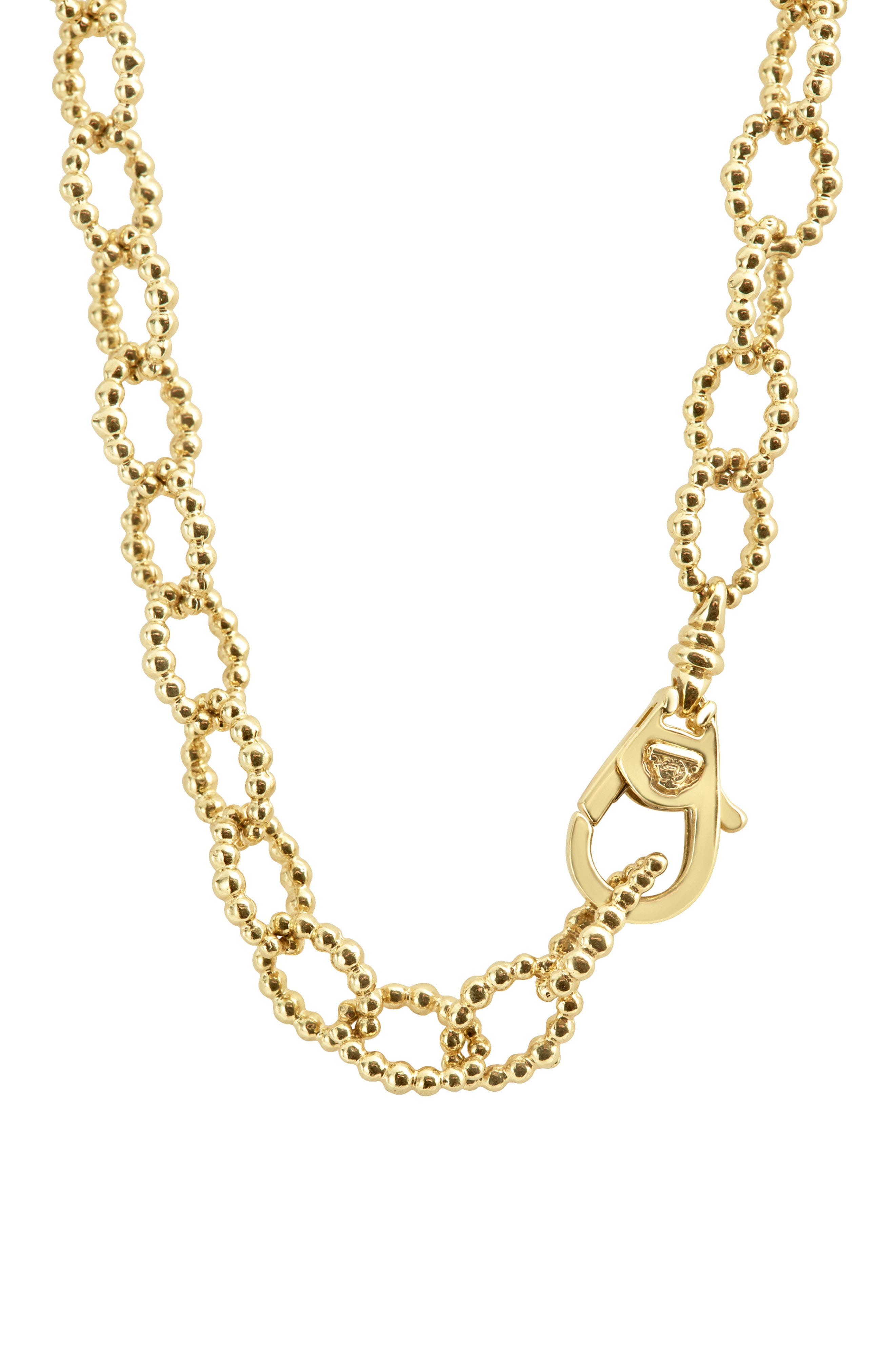Caviar Gold Fluted Oval Link Necklace,                             Alternate thumbnail 4, color,                             Gold