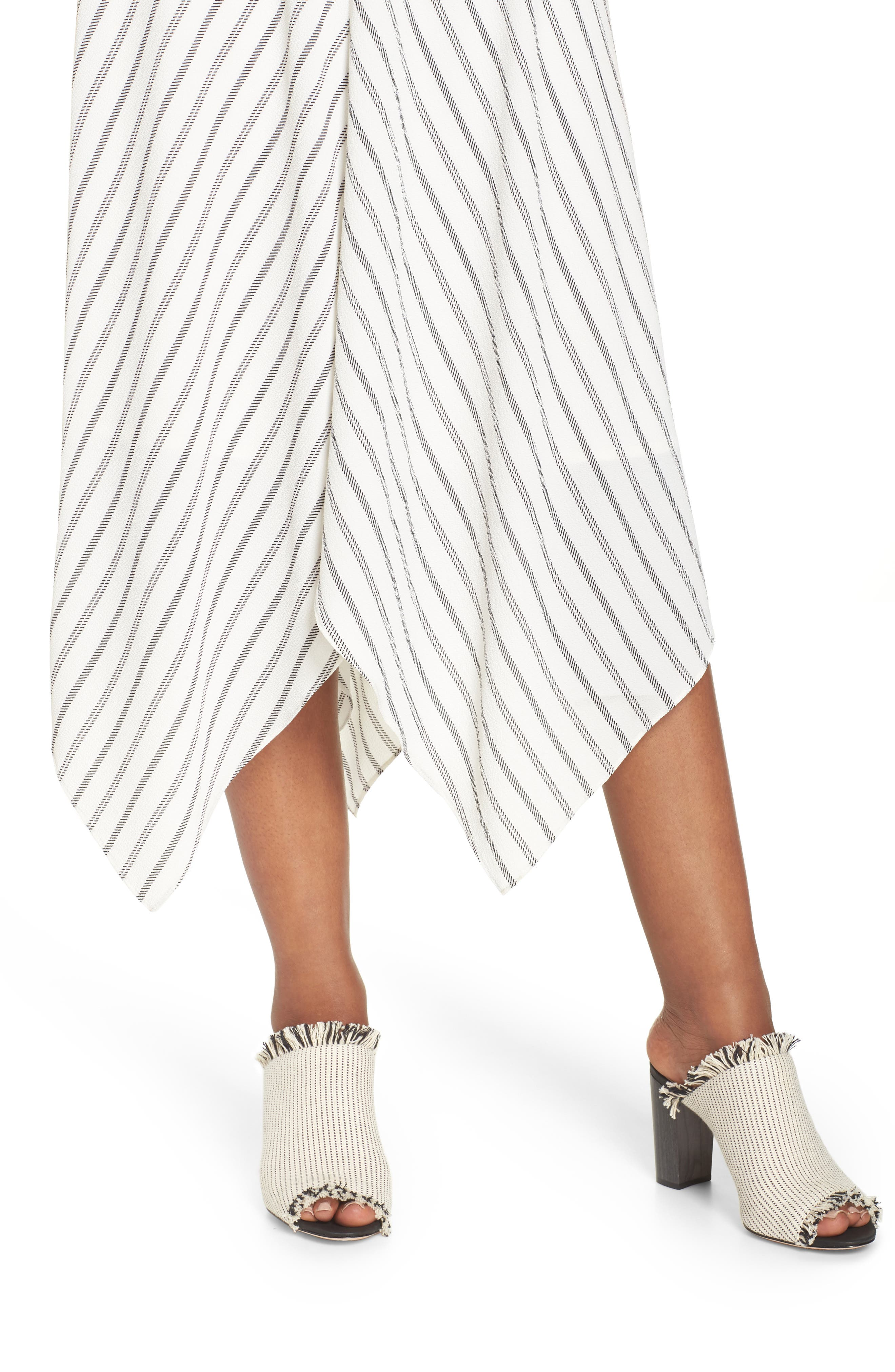 Stripe Ruched Handkerchief Hem Dress,                             Alternate thumbnail 4, color,                             Soft White/ Black