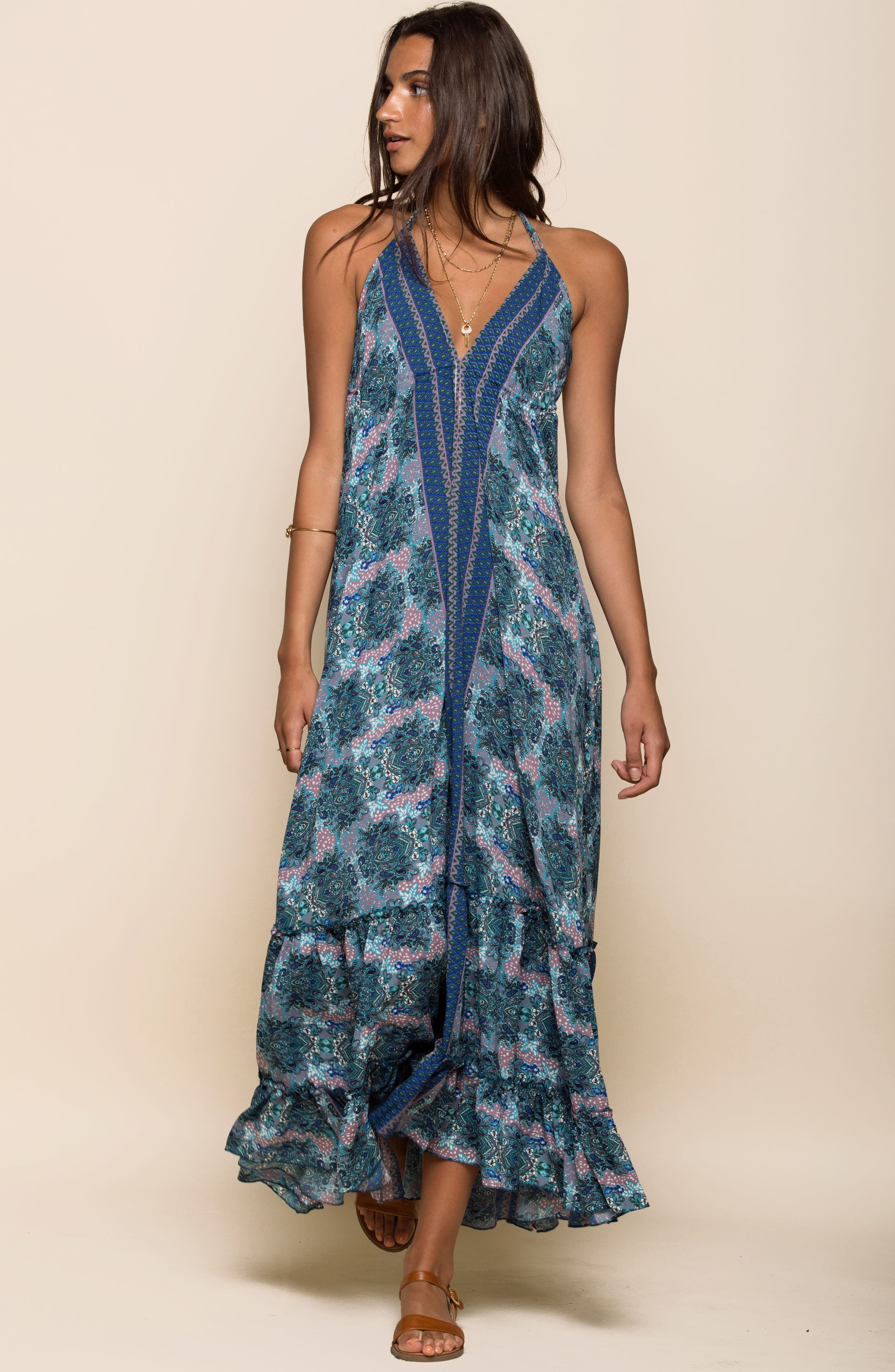 Poetic Dreams Halter Maxi Dress,                             Alternate thumbnail 2, color,                             Blue