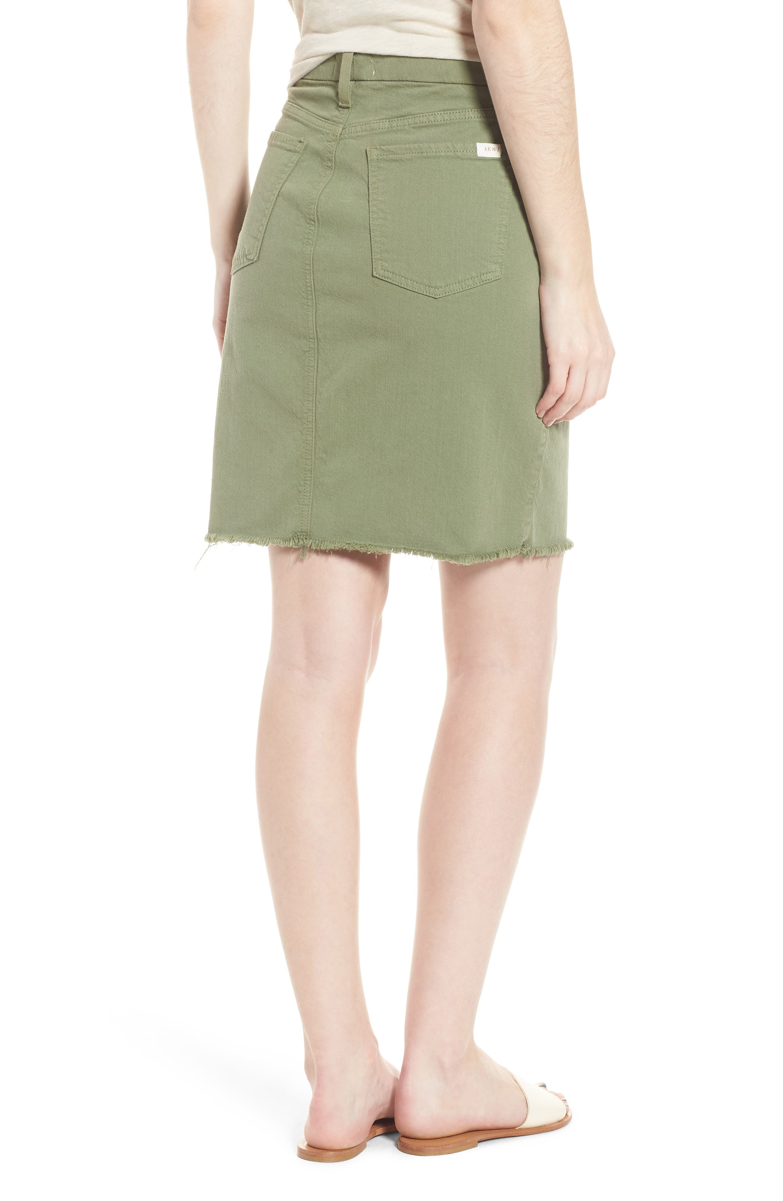 Frayed Hem Denim Pencil Skirt,                             Alternate thumbnail 2, color,                             Washed Army