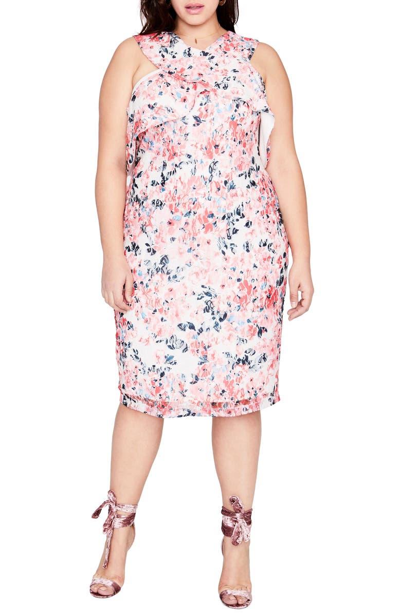 Print Off the Shoulder Lace Dress