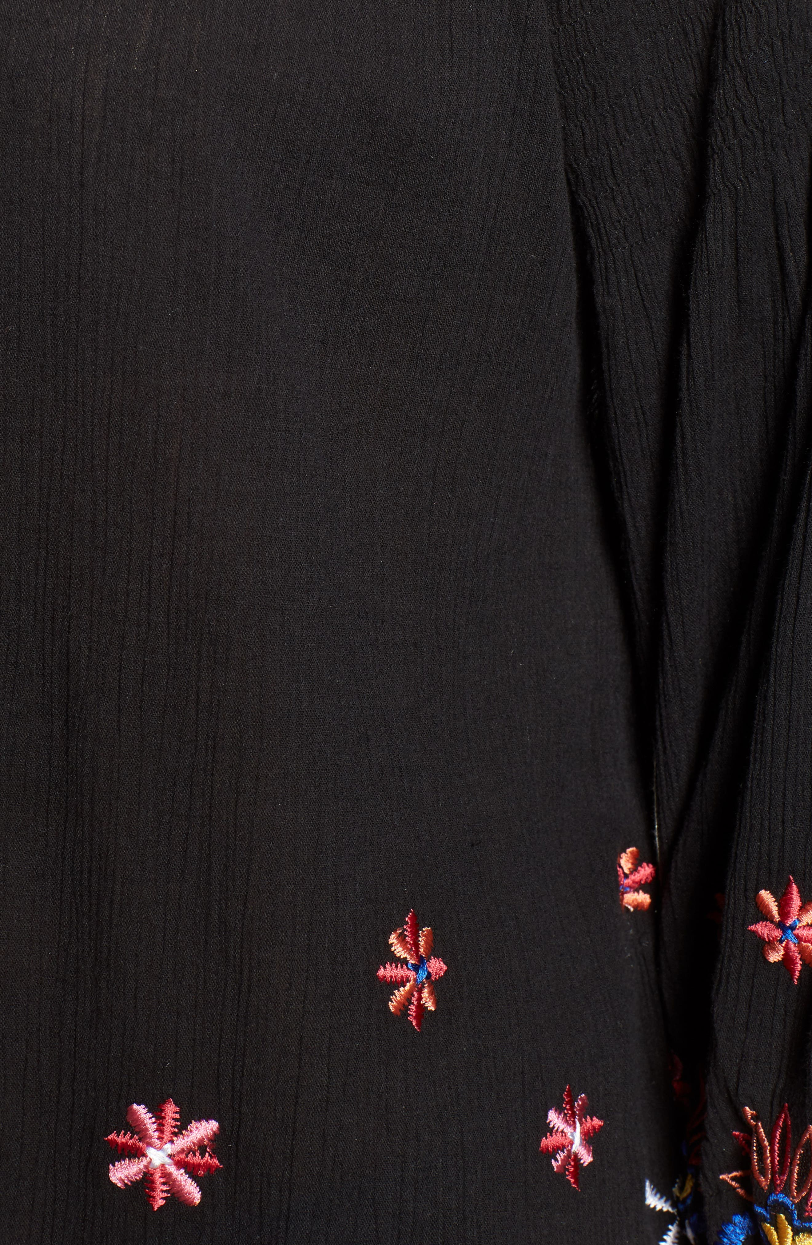 Hand Embroidered Cotton Peasant Blouse,                             Alternate thumbnail 6, color,                             Black