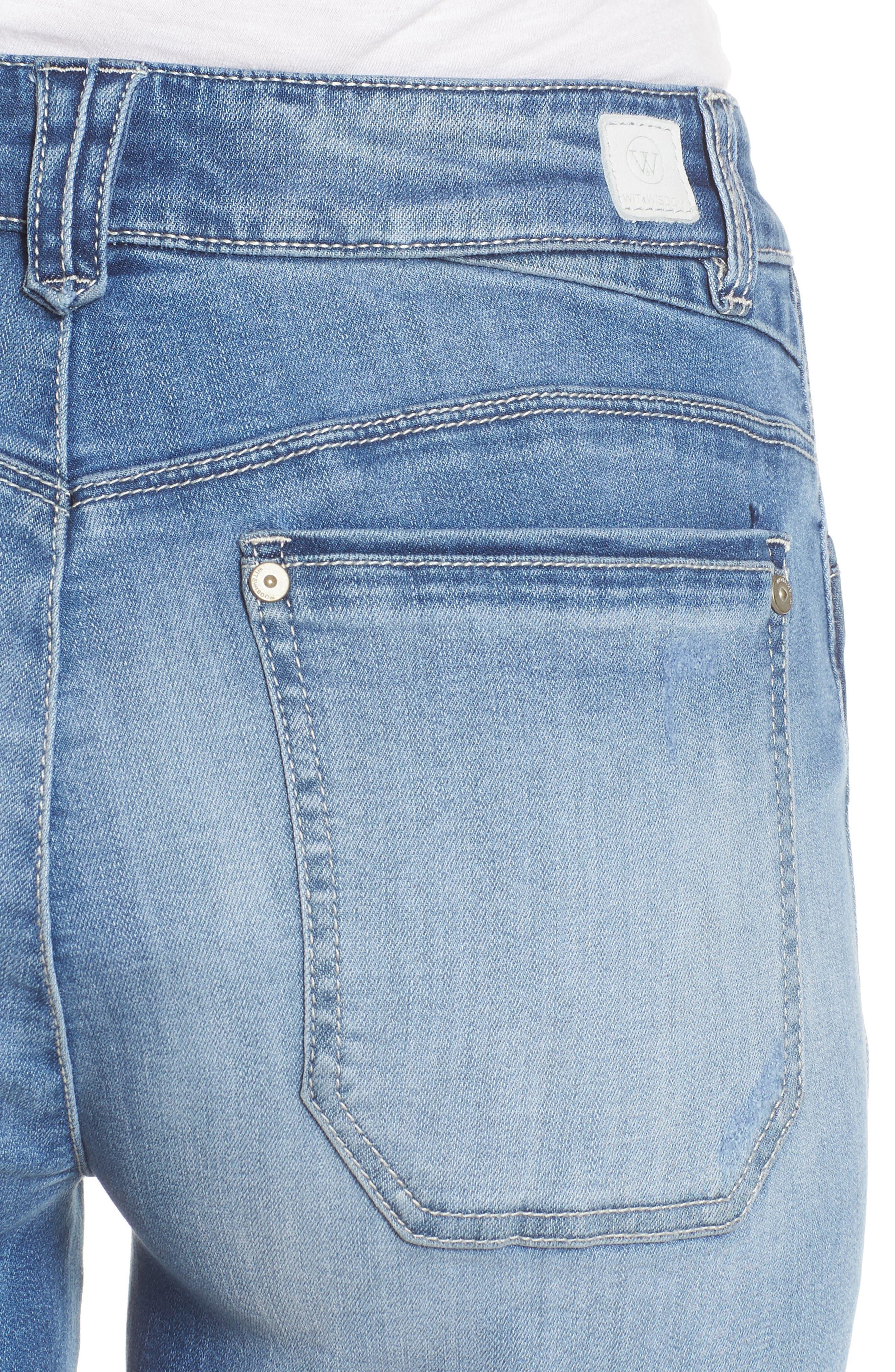 Flex-Ellent High Rise Denim Shorts,                             Alternate thumbnail 4, color,                             Light Blue