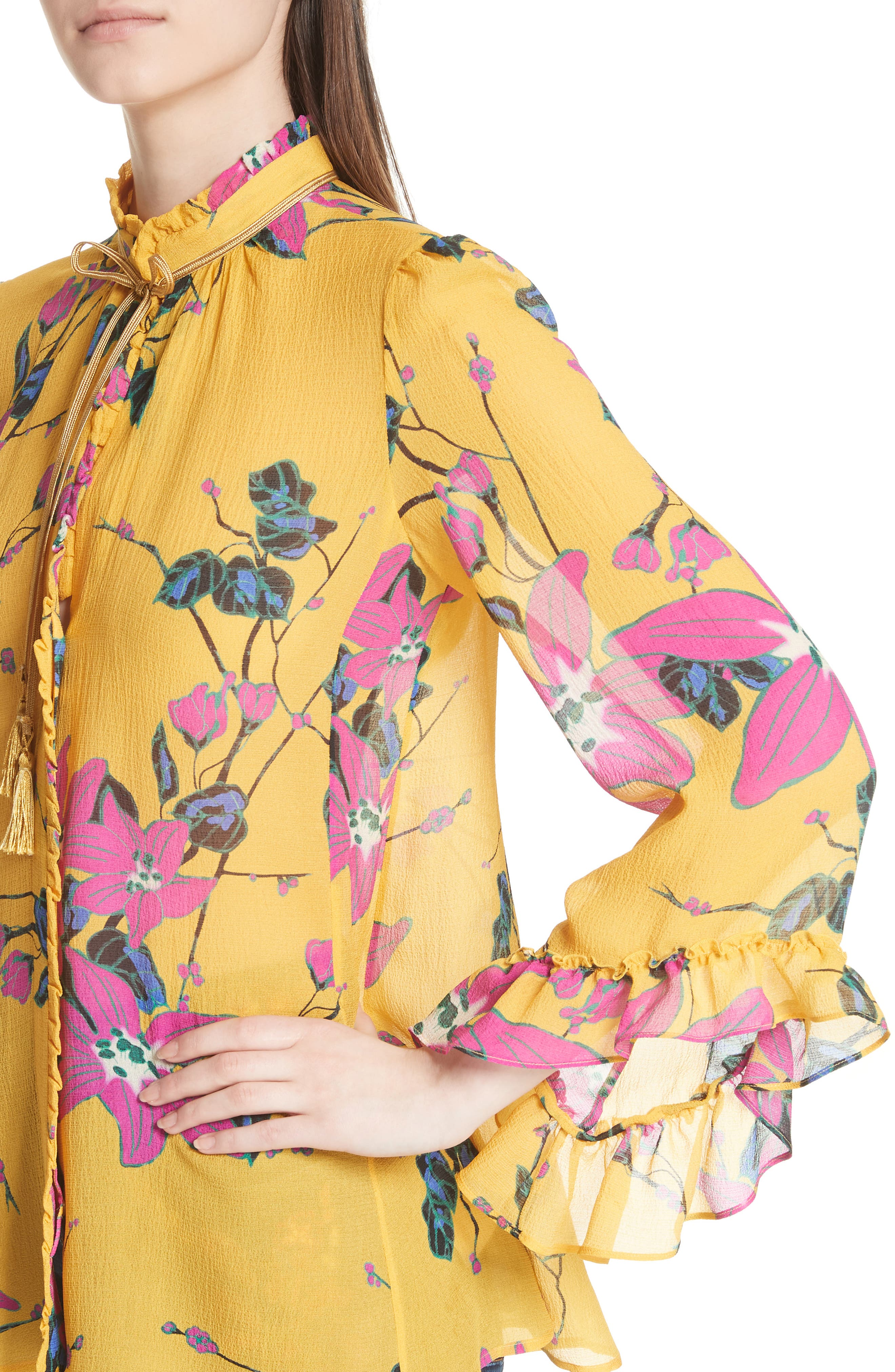Lily Print Tie Neck Silk Blouse,                             Alternate thumbnail 4, color,                             Yellow Multi