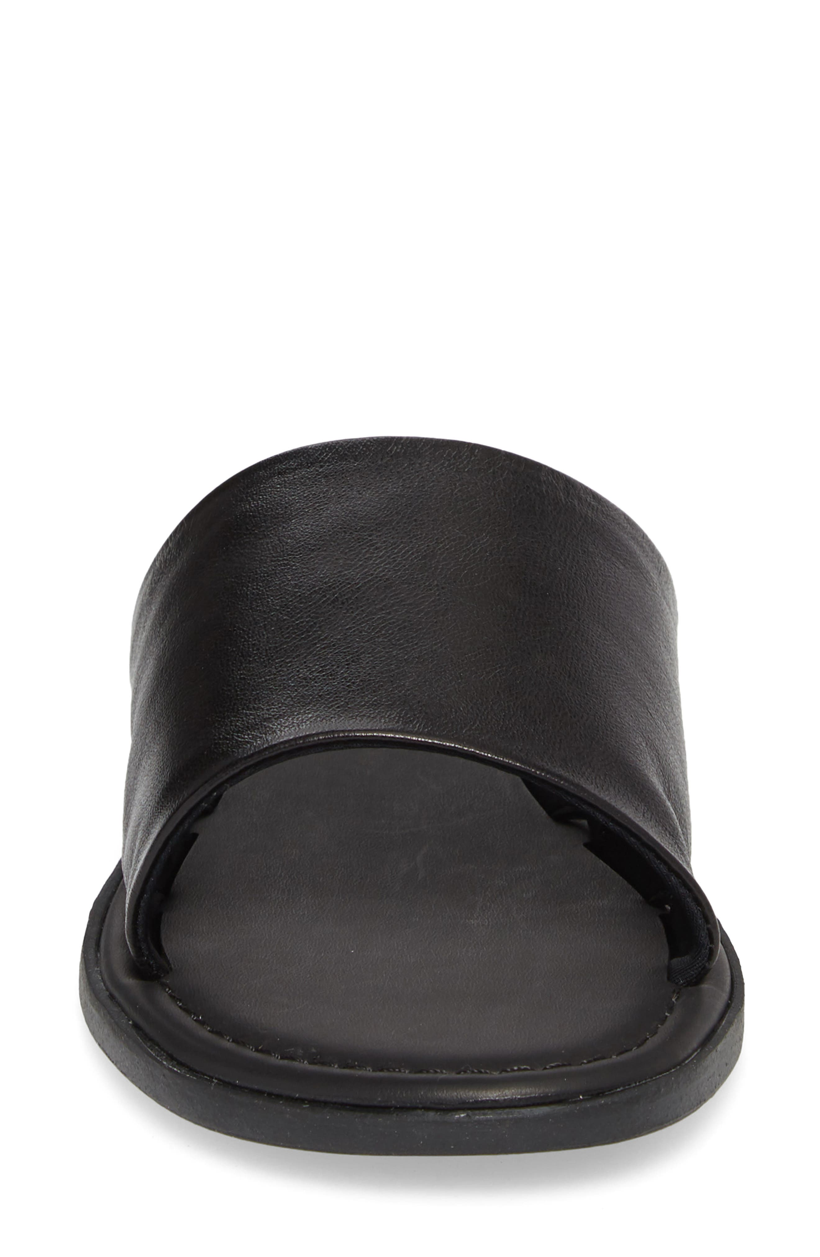 Camilla Slide Sandal,                             Alternate thumbnail 4, color,                             Black Leather