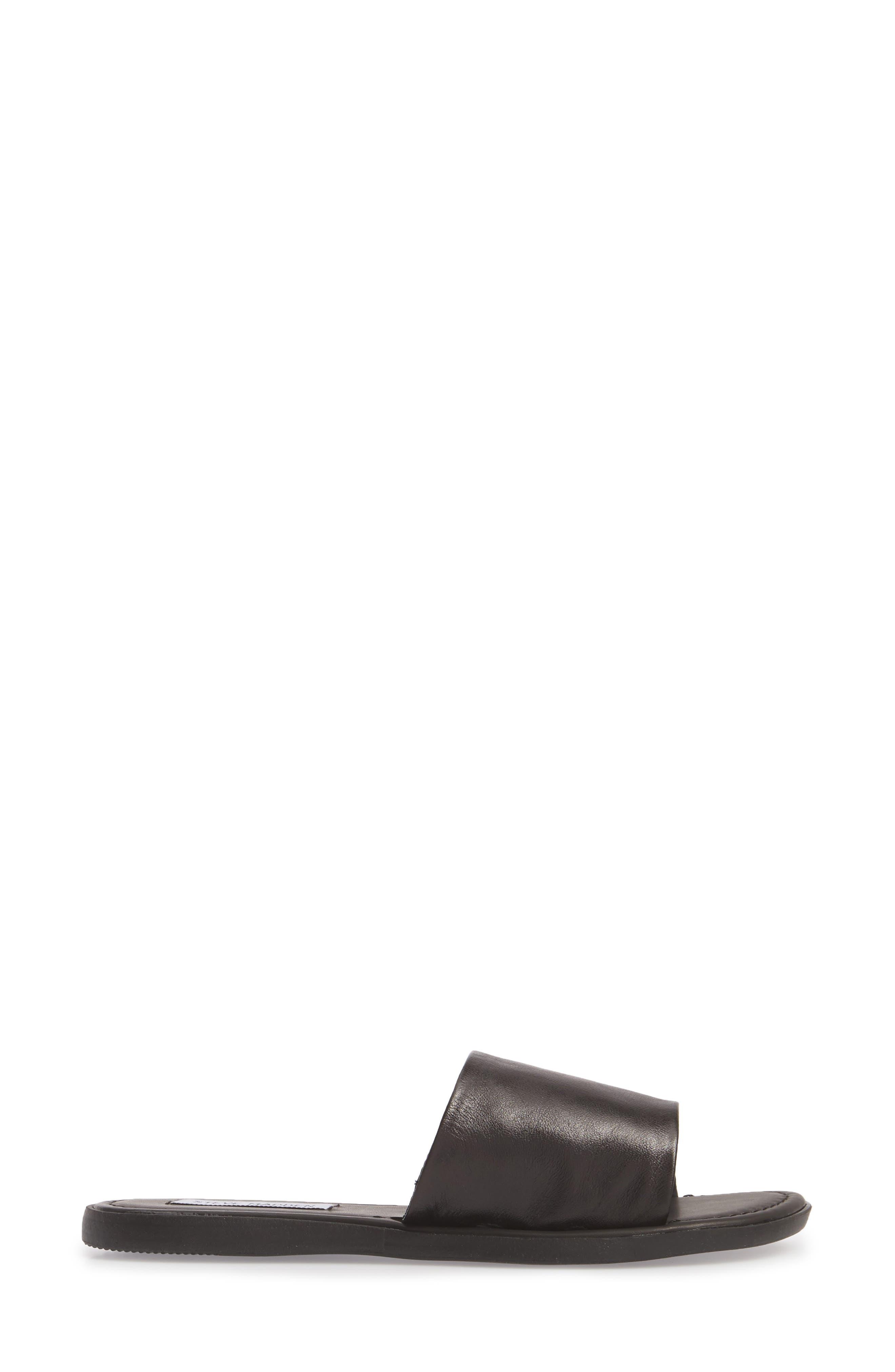 Camilla Slide Sandal,                             Alternate thumbnail 3, color,                             Black Leather