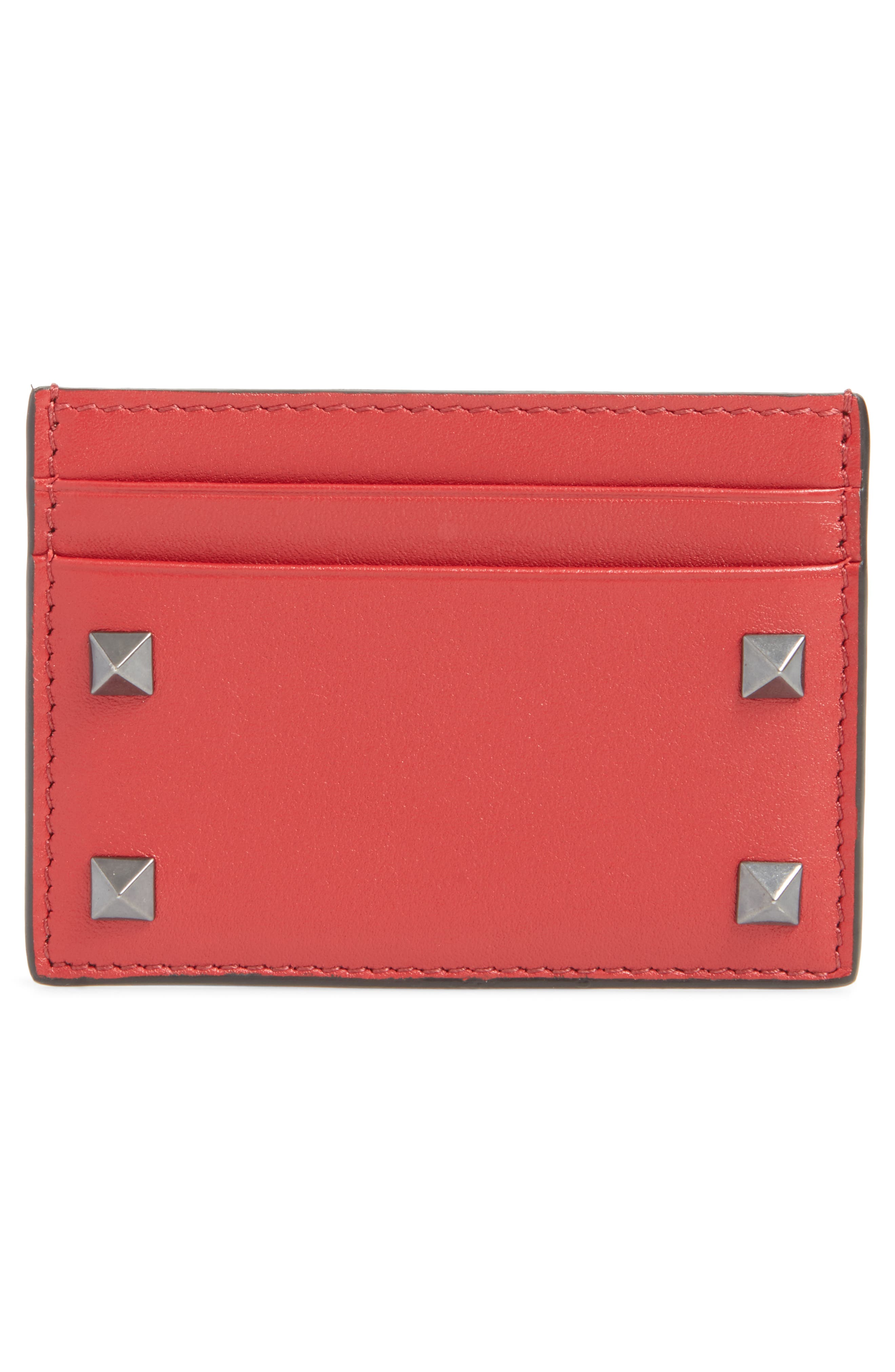 GARAVANI Stud Leather Card Case,                         Main,                         color, Red