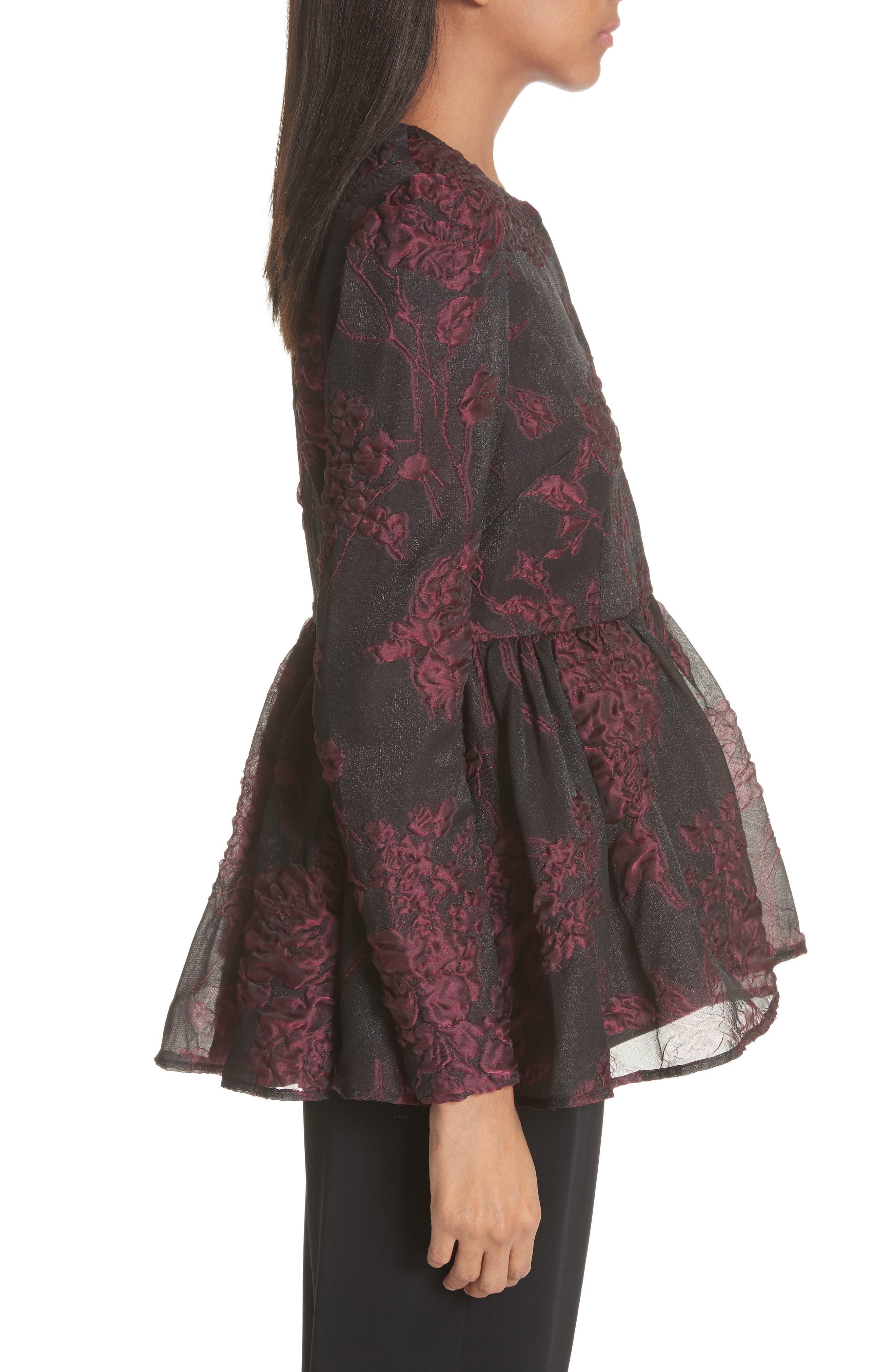 Floral Silk Blend Jacquard Peplum Jacket,                             Alternate thumbnail 3, color,                             Black/ Plum