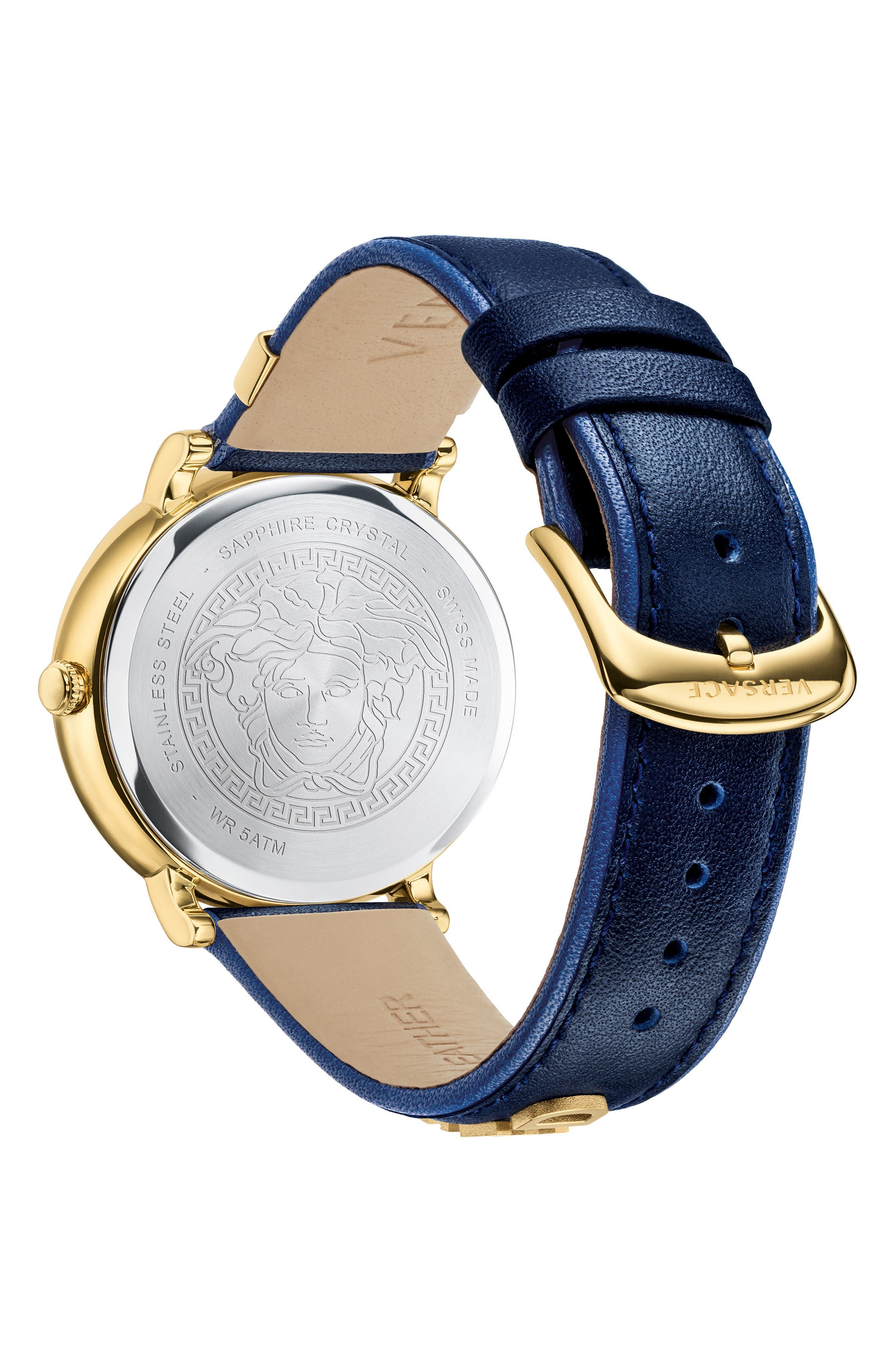 Manifesto Leather Strap Watch, 38mm,                             Alternate thumbnail 3, color,                             Blue/ Gold