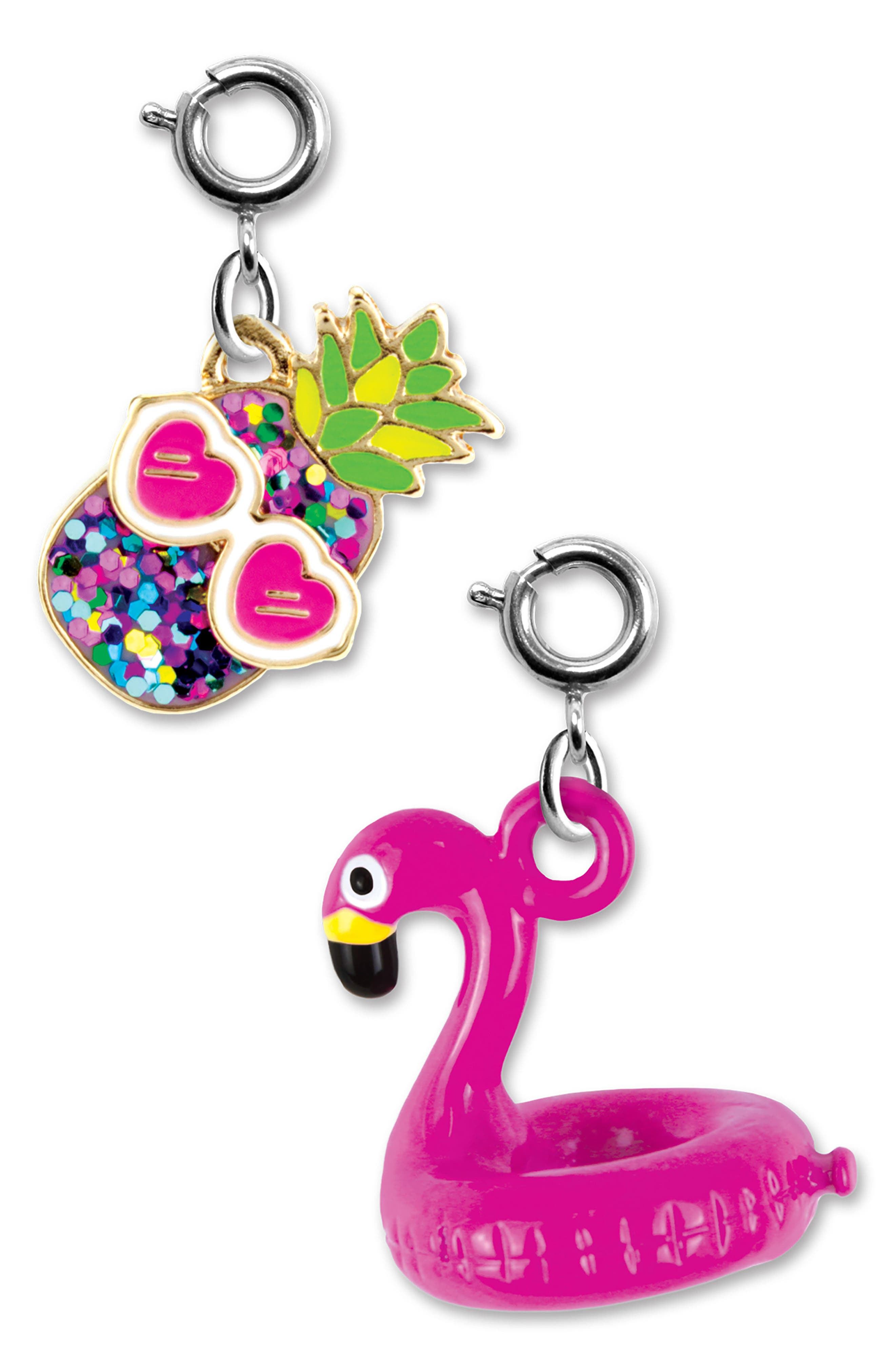 CHARM IT!<sup>®</sup> 2-Pack Glitter Pineapple & Flamingo Float Charms,                         Main,                         color, Multi
