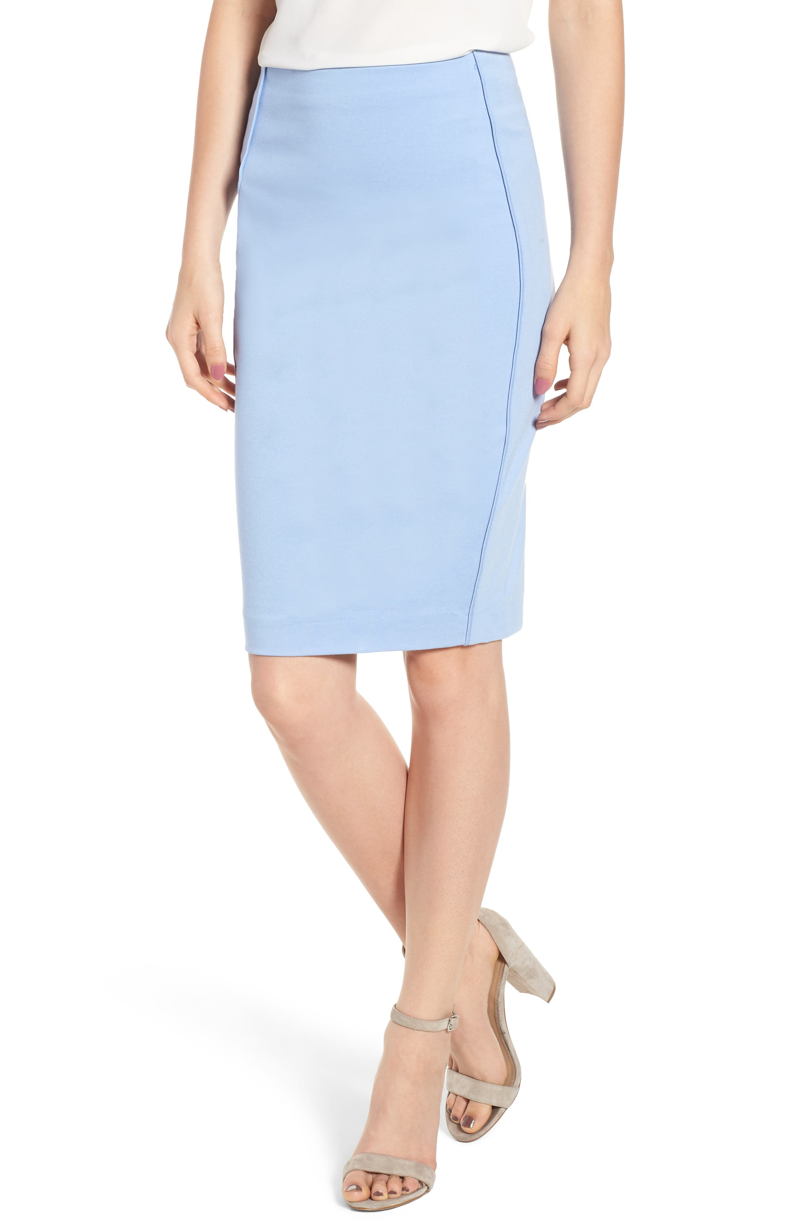 Ponte Pencil Skirt,                             Main thumbnail 1, color,                             Soft Blue