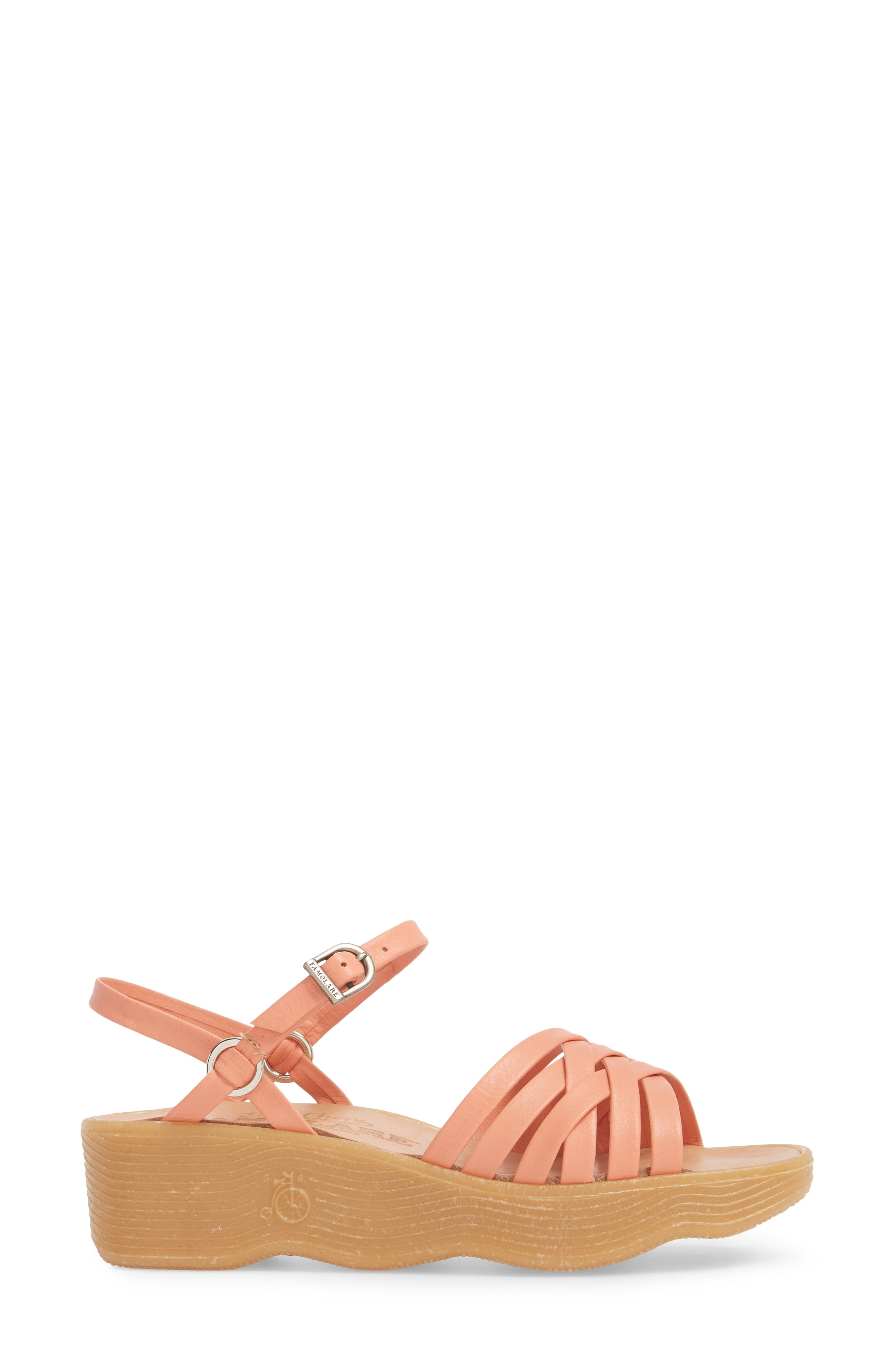 Strappy Camper Sandal,                             Alternate thumbnail 3, color,                             Salmon Leather