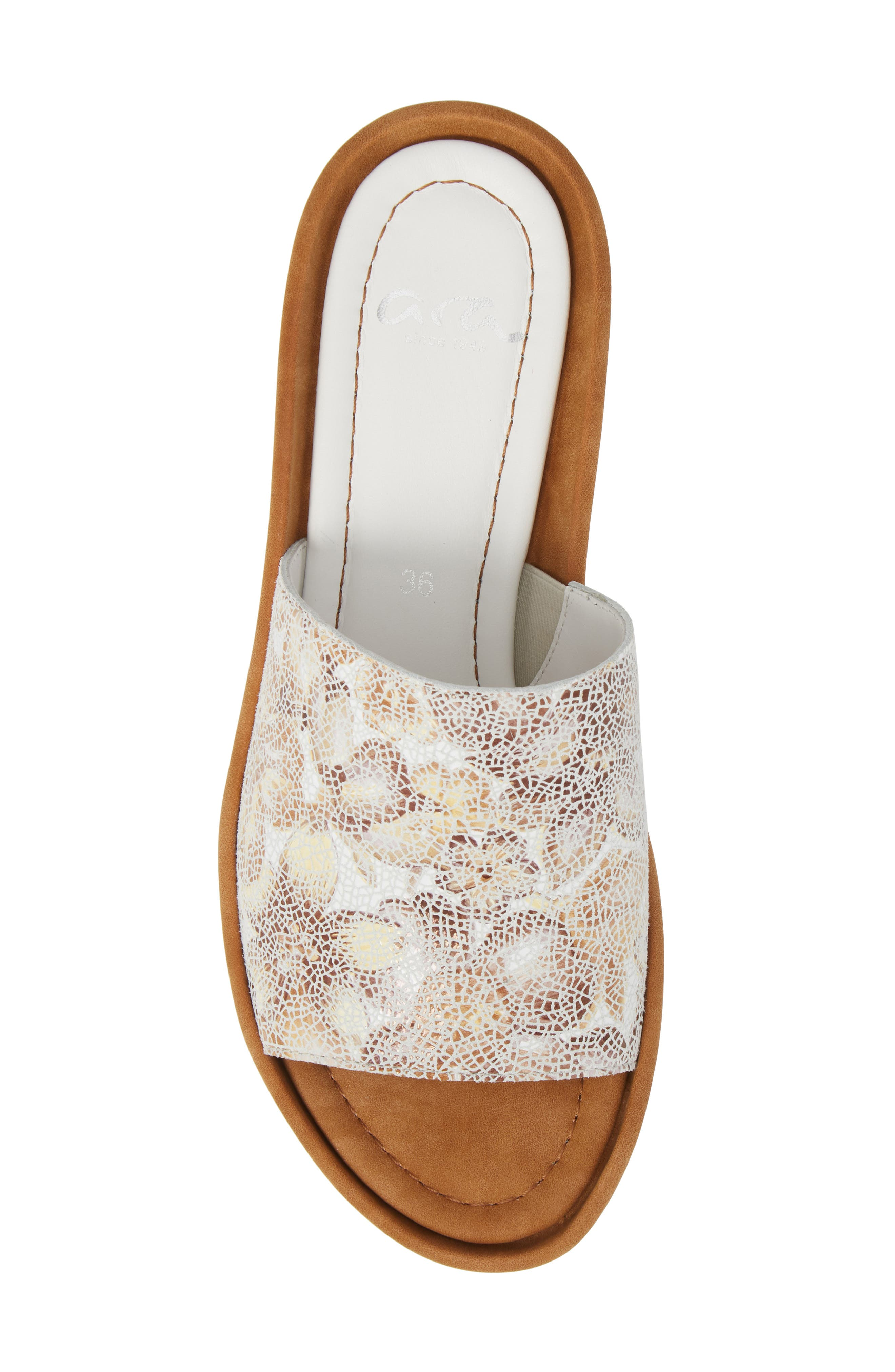 Tania Platform Wedge Slide Sandal,                             Alternate thumbnail 5, color,                             Taupe Leather