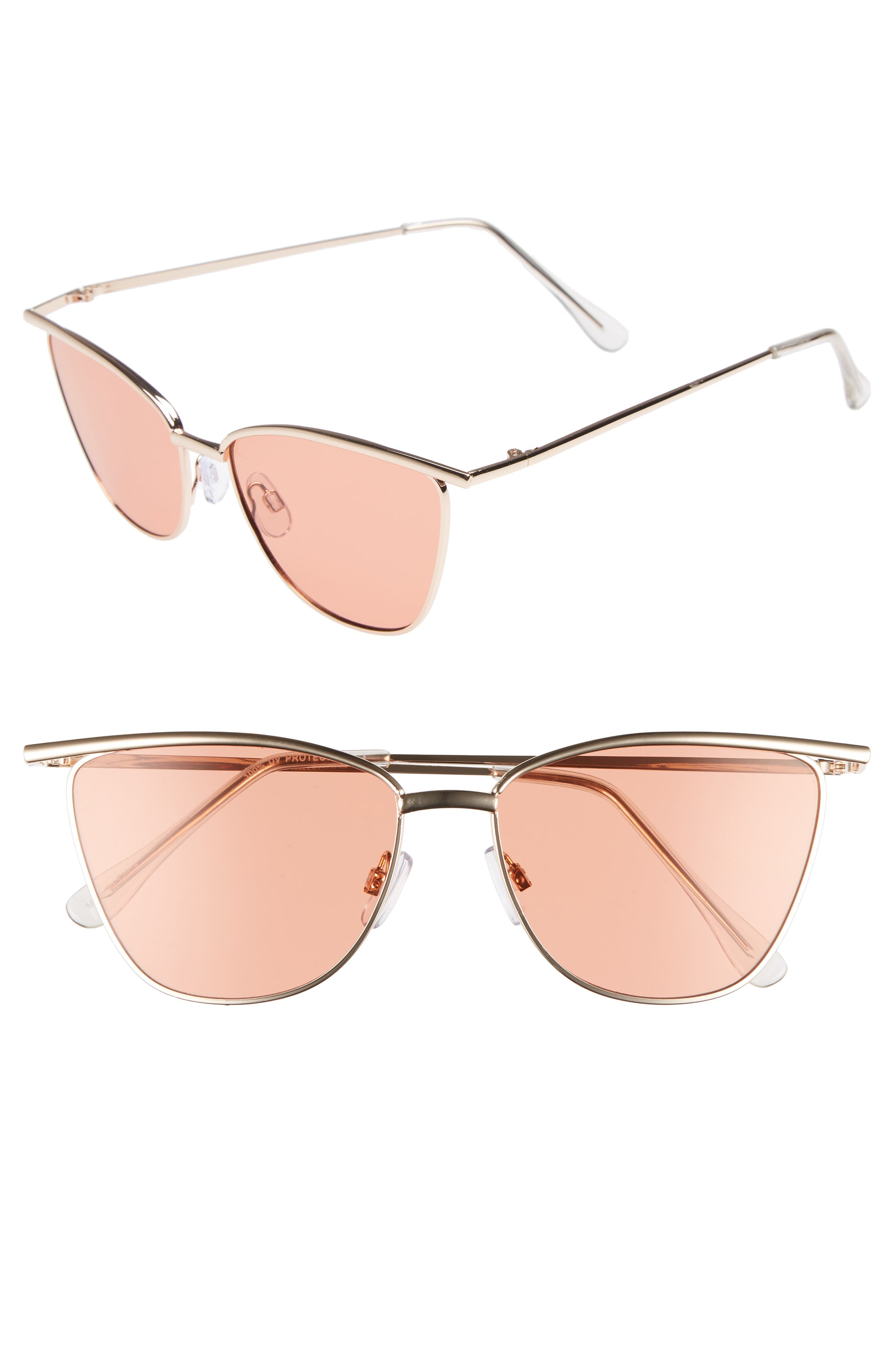 55mm Winged Cat Eye Sunglasses,                         Main,                         color, Gold/ Black