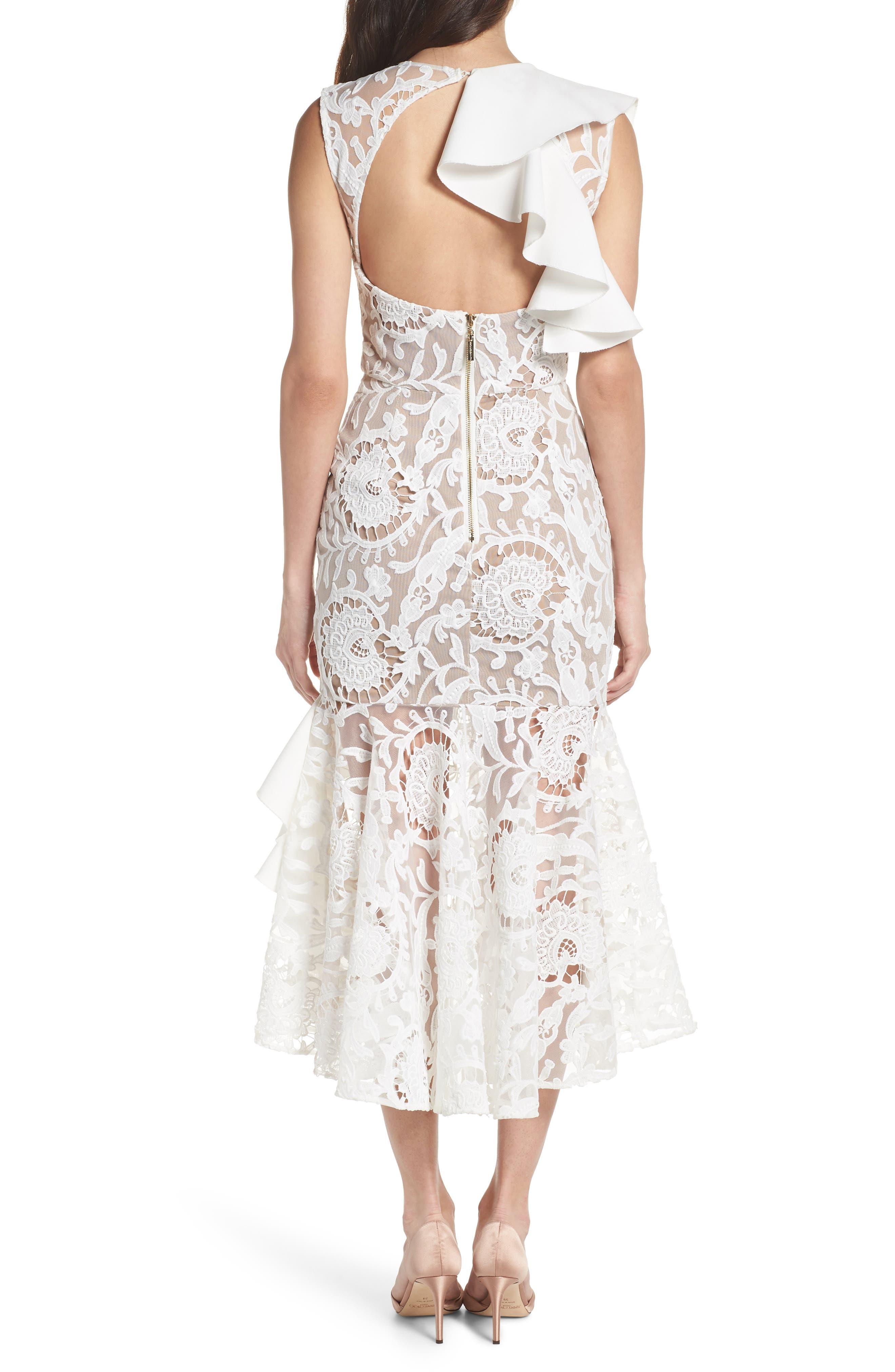 Rocha Waterfall Ruffle Lace Midi Dress,                             Alternate thumbnail 2, color,                             White