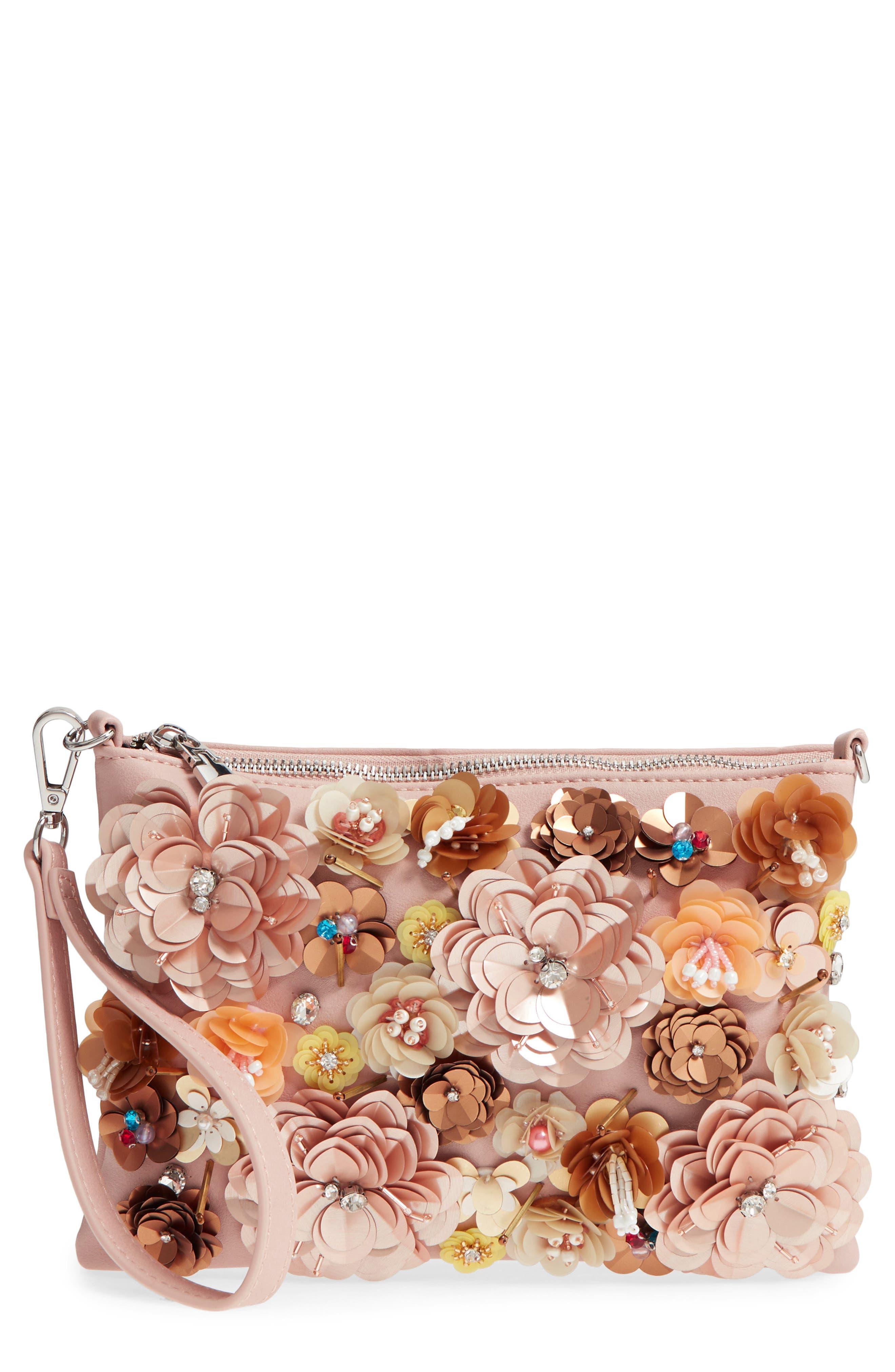 Fleur Convertible Faux Leather Wristlet,                             Main thumbnail 1, color,                             Pink Hero