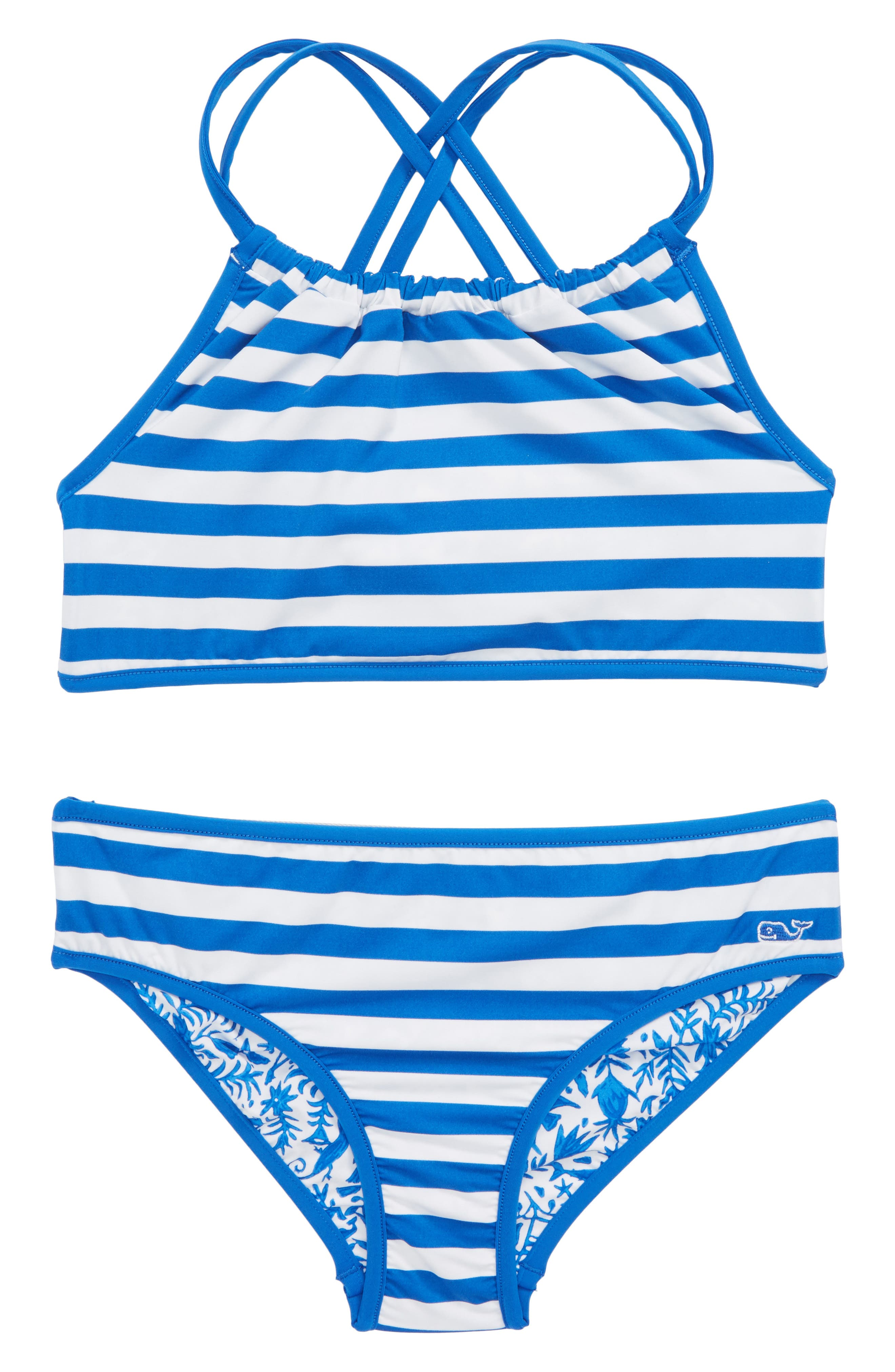 Bahama Otomi Reversible Two-Piece Swimsuit,                             Alternate thumbnail 2, color,                             Yacht Blue