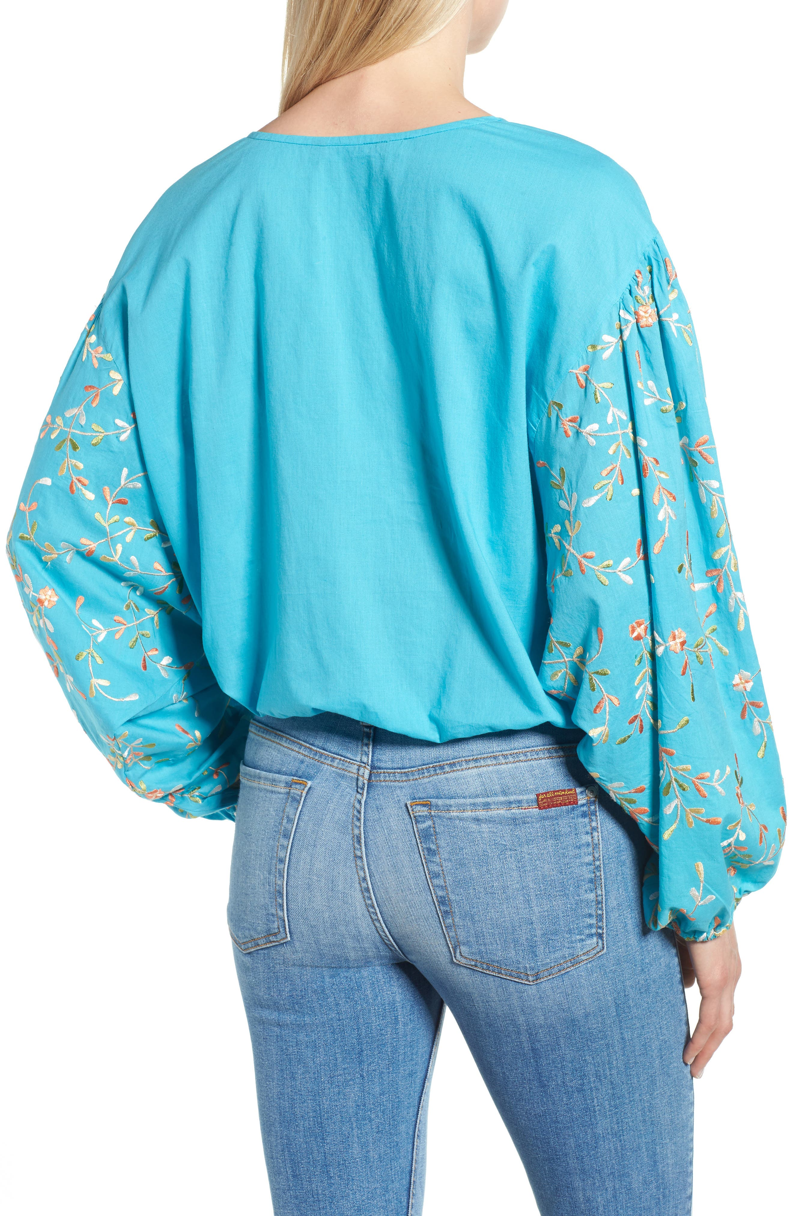 Coline Front Tie Embroidered Sleeve Blouse,                             Alternate thumbnail 2, color,                             Turquoise