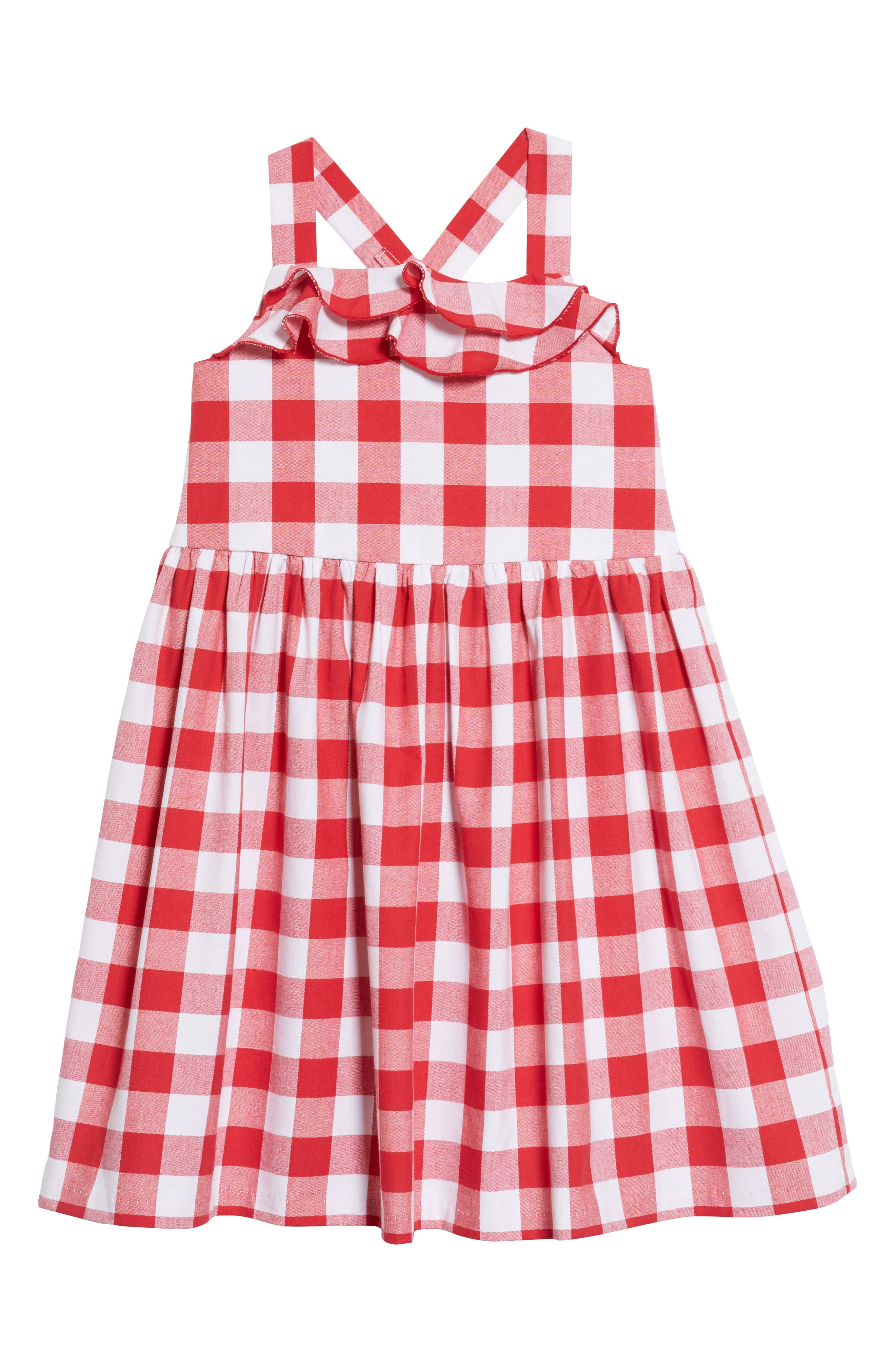 Pastourelle by Pippa and Julie Cross Back Gingham Dress,                             Main thumbnail 1, color,                             Red/ White