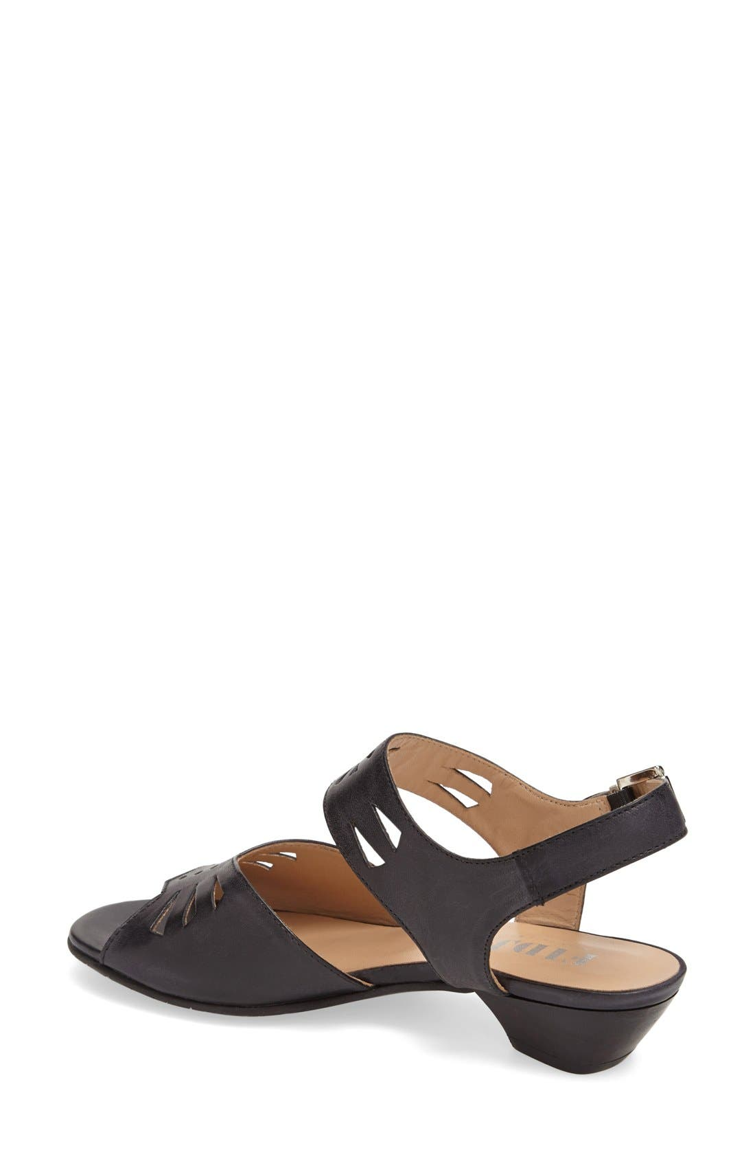 'V112' Perforated Leather Sandal,                             Alternate thumbnail 2, color,                             Black
