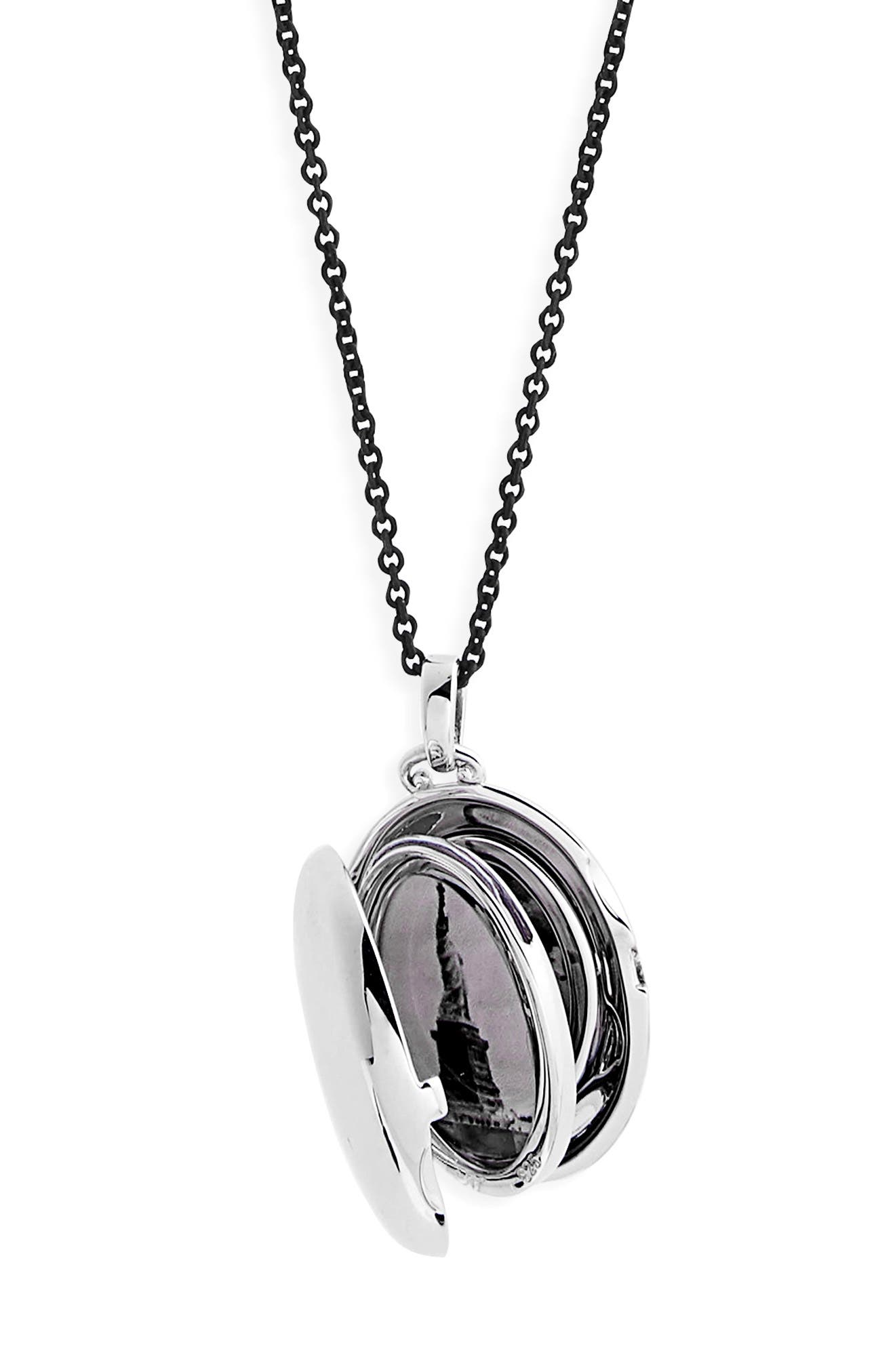 Four Image Mini Locket Necklace,                             Alternate thumbnail 2, color,                             Sterling Silver/ Black Steel