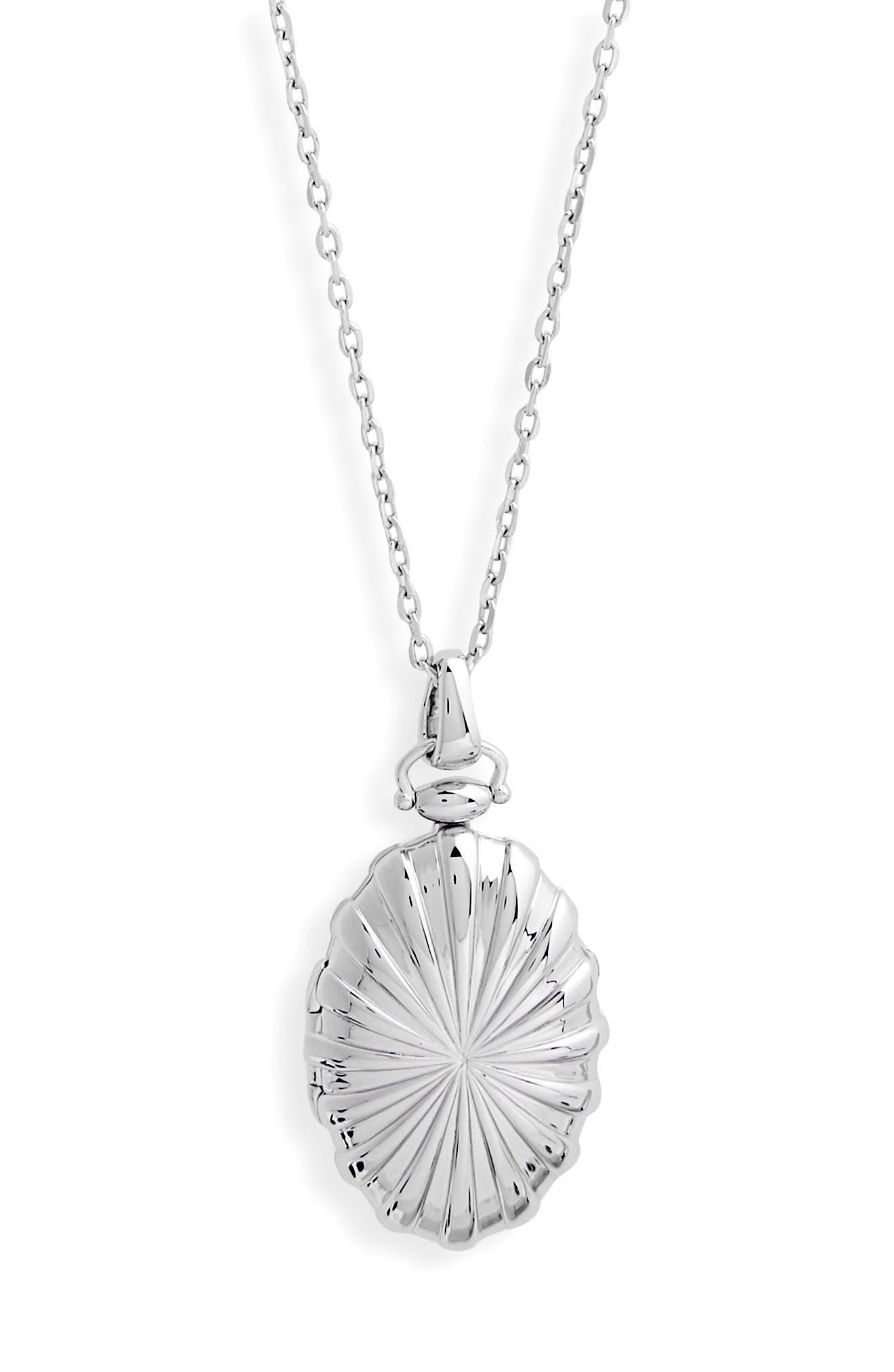Sunburst Locket Necklace,                             Alternate thumbnail 2, color,                             Sterling Silver