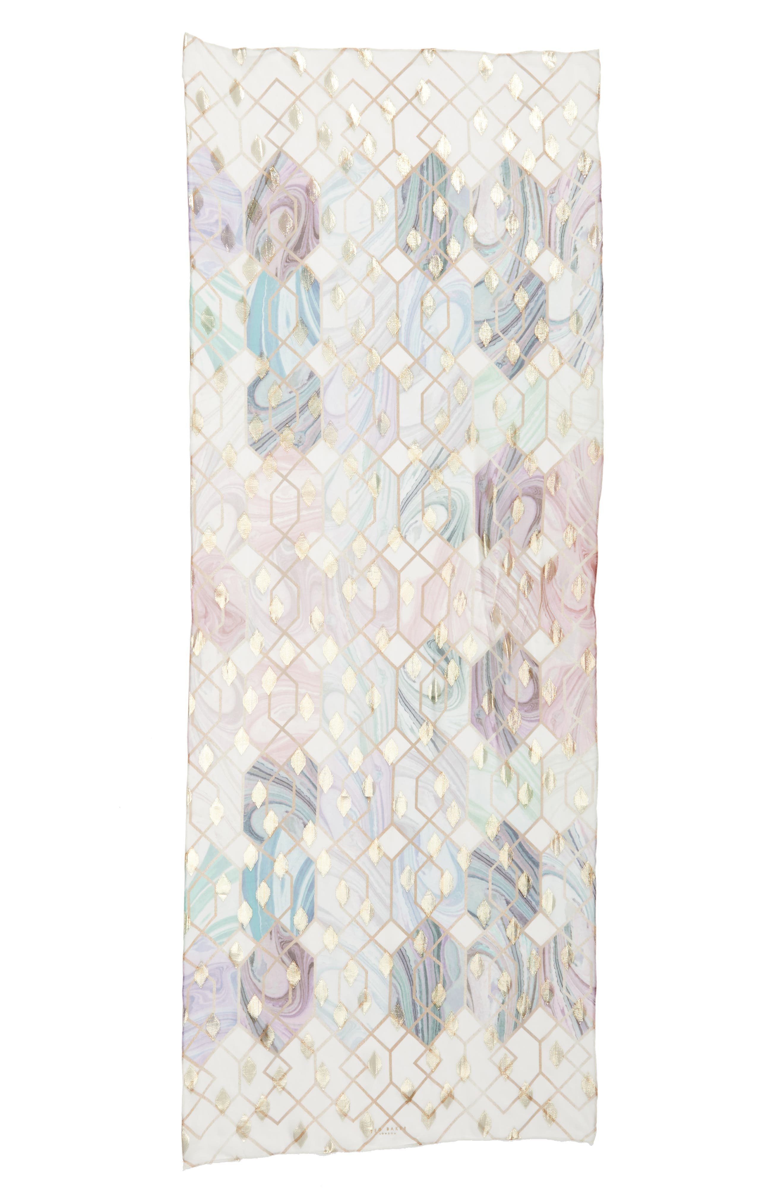 Alieee- Sea Of Clouds Long Silk Scarf,                             Alternate thumbnail 3, color,                             White
