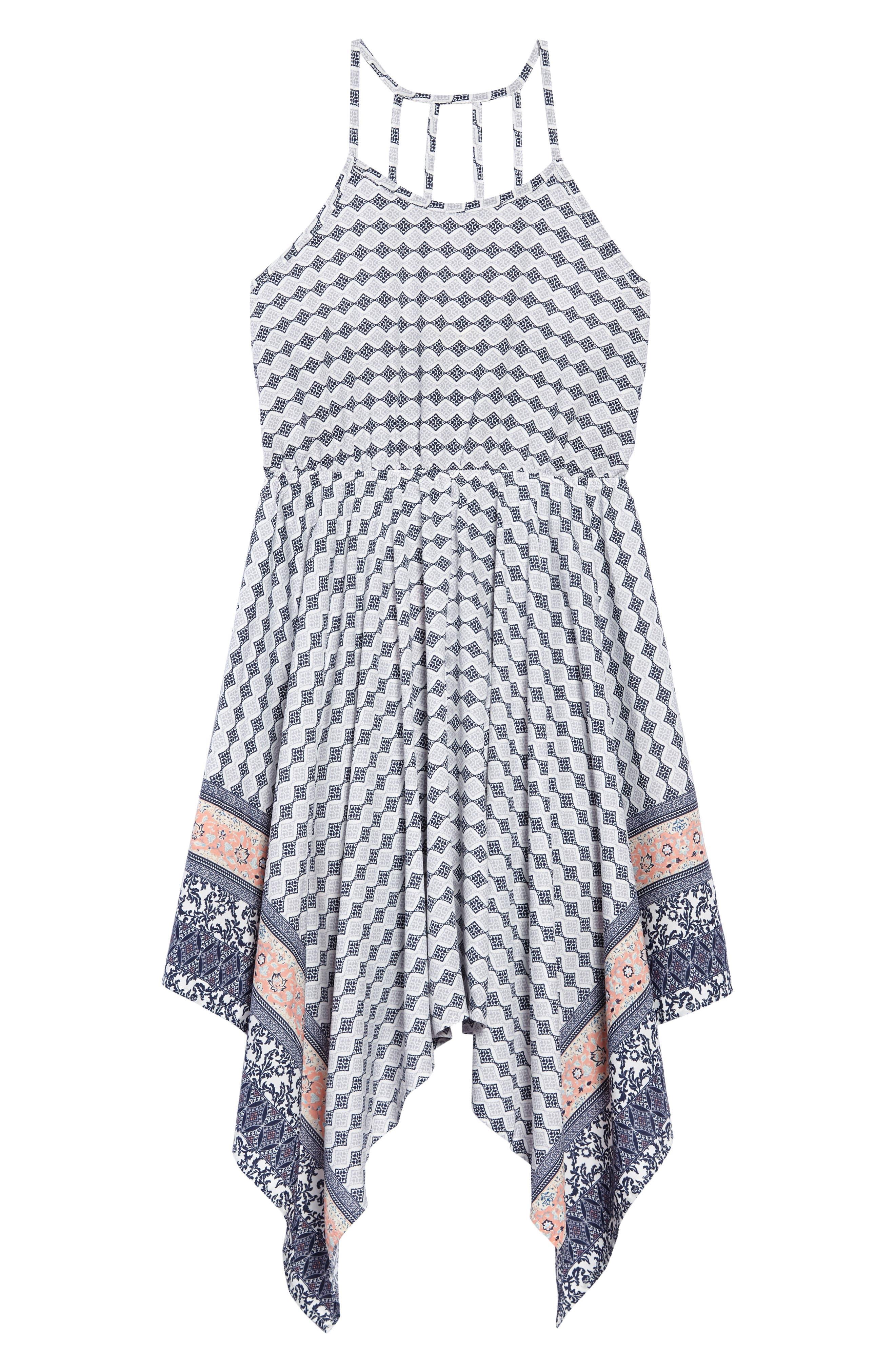 Alternate Image 1 Selected - Soprano Print Handkerchief Dress (Big Girls)