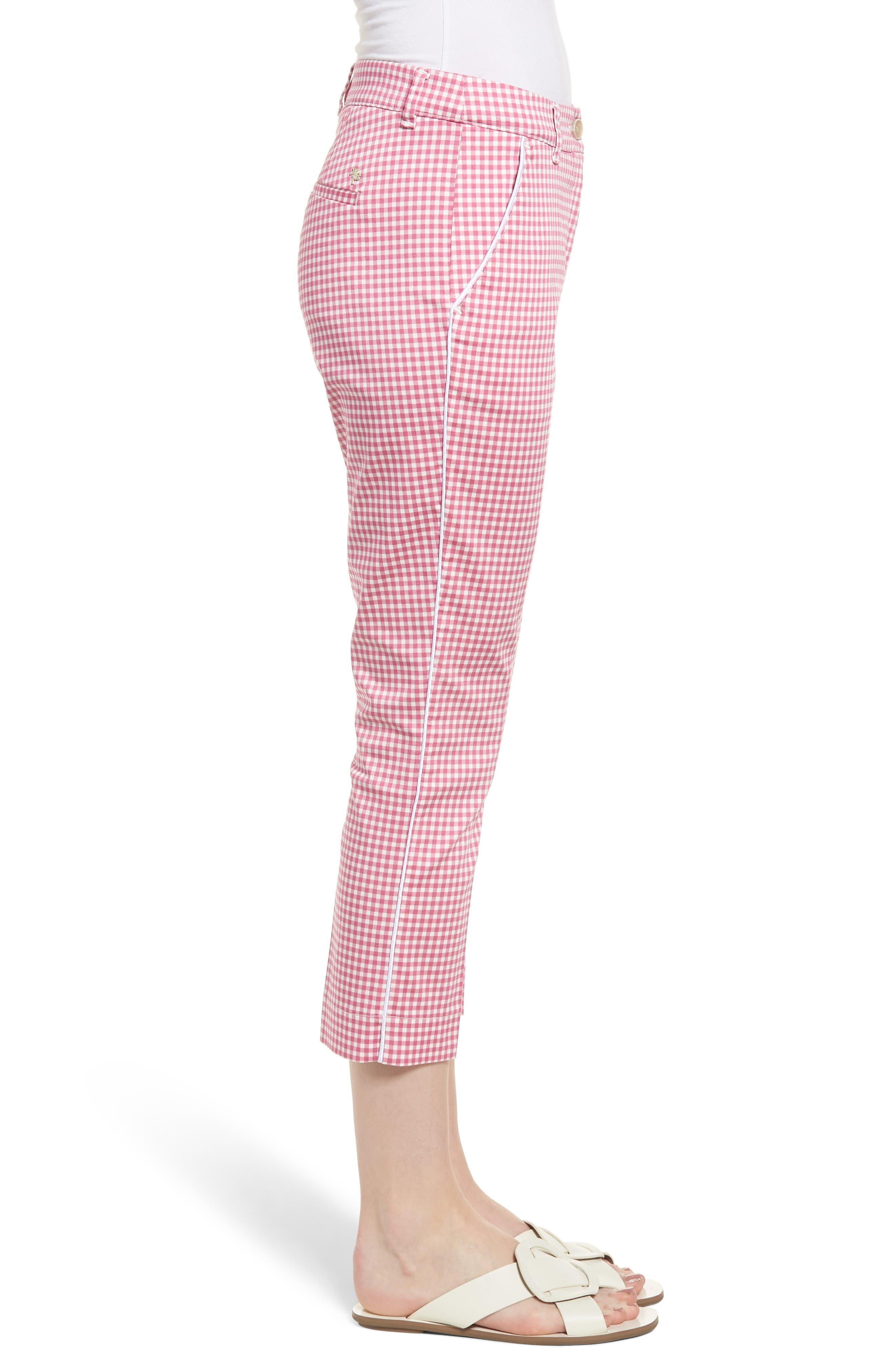 Maron Gingham Stretch Cotton Pants,                             Alternate thumbnail 3, color,                             Pink