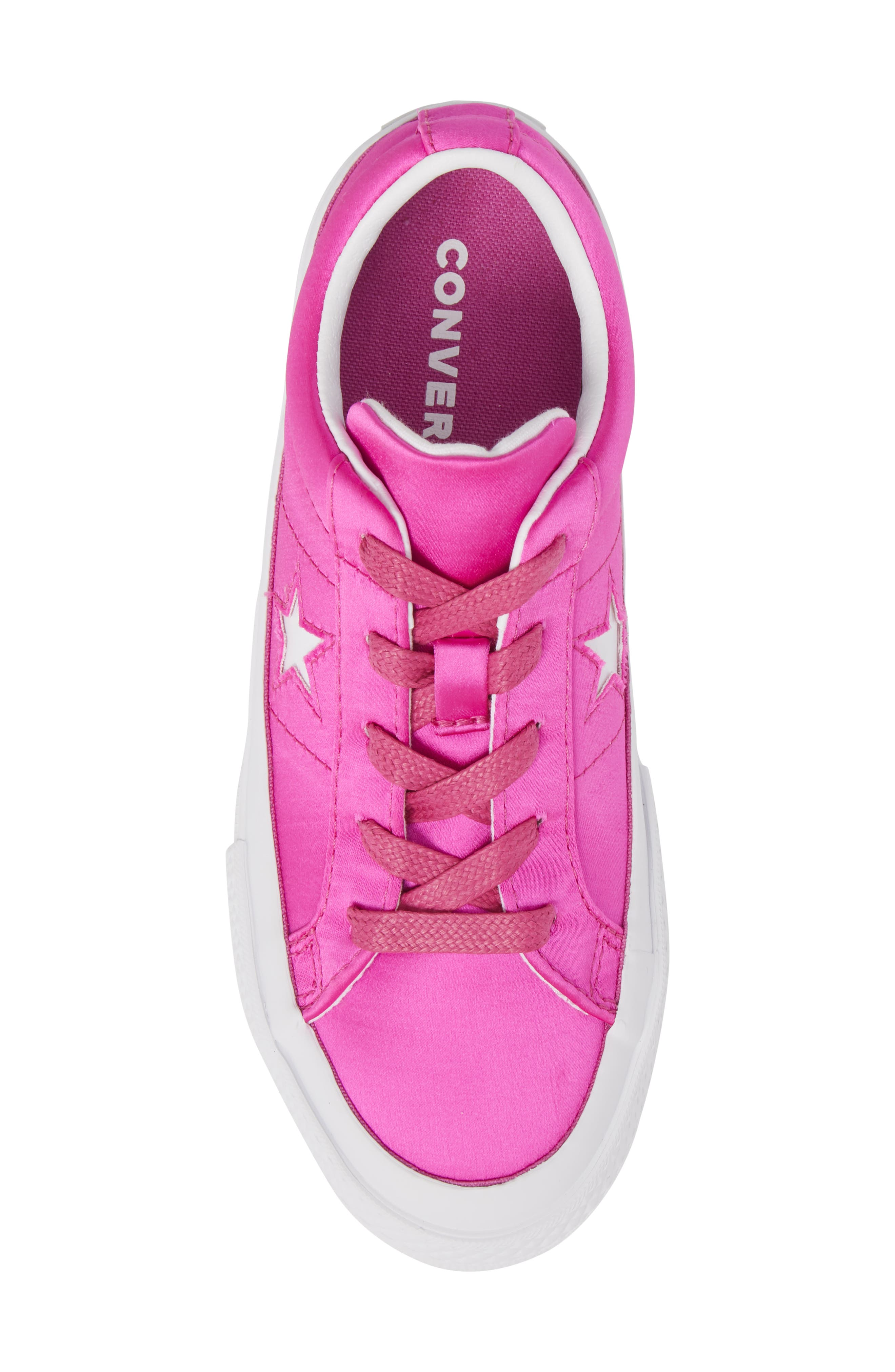 Chuck Taylor<sup>®</sup> All Star<sup>®</sup> One Star Satin Low Top Sneaker,                             Alternate thumbnail 5, color,                             Hyper Magenta