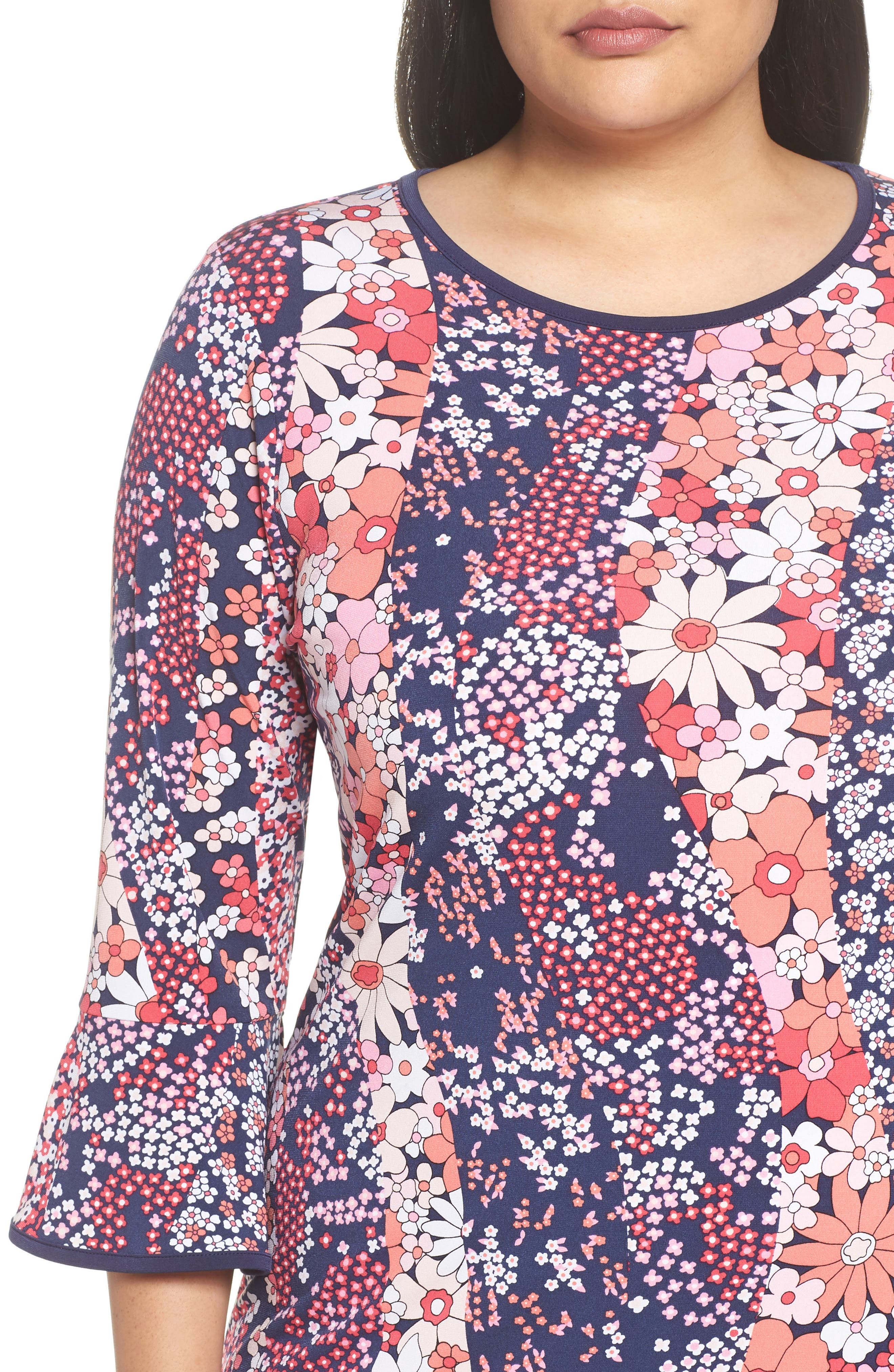 Patchwork Floral Bell Sleeve Shift Dress,                             Alternate thumbnail 4, color,                             True Navy/ Bright Blush
