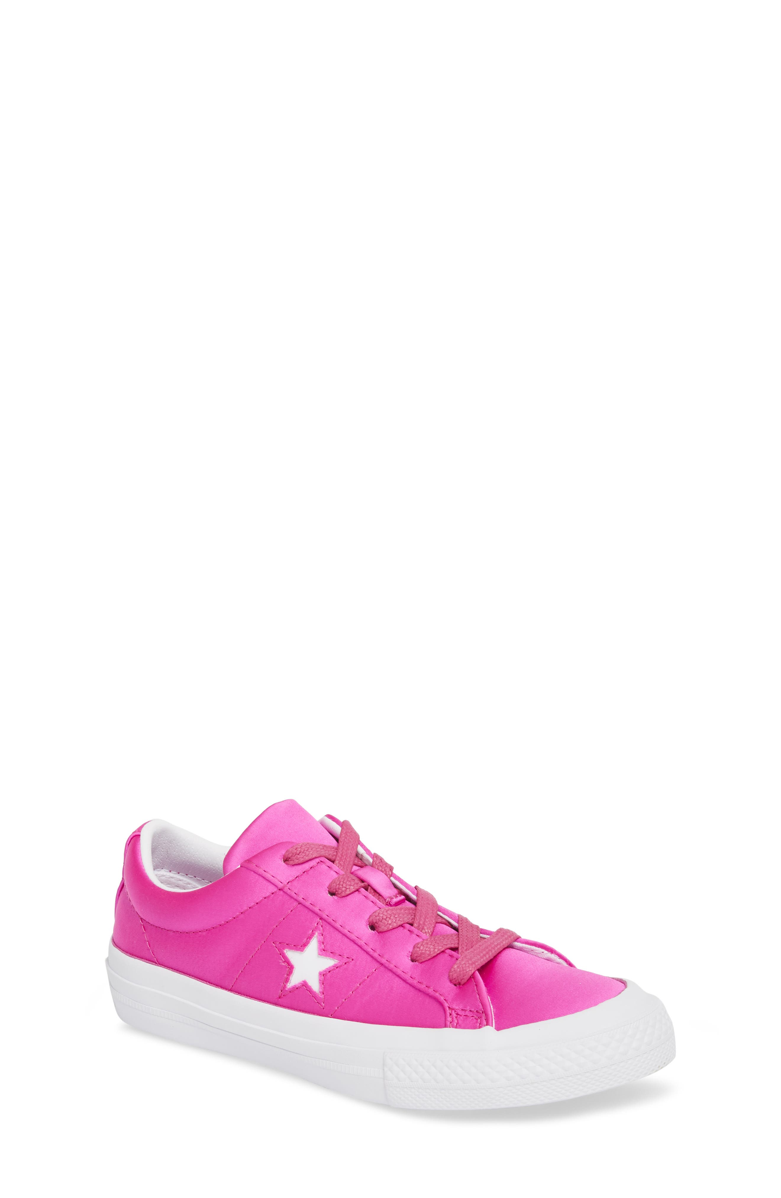 Chuck Taylor<sup>®</sup> All Star<sup>®</sup> One Star Satin Low Top Sneaker,                         Main,                         color, Hyper Magenta