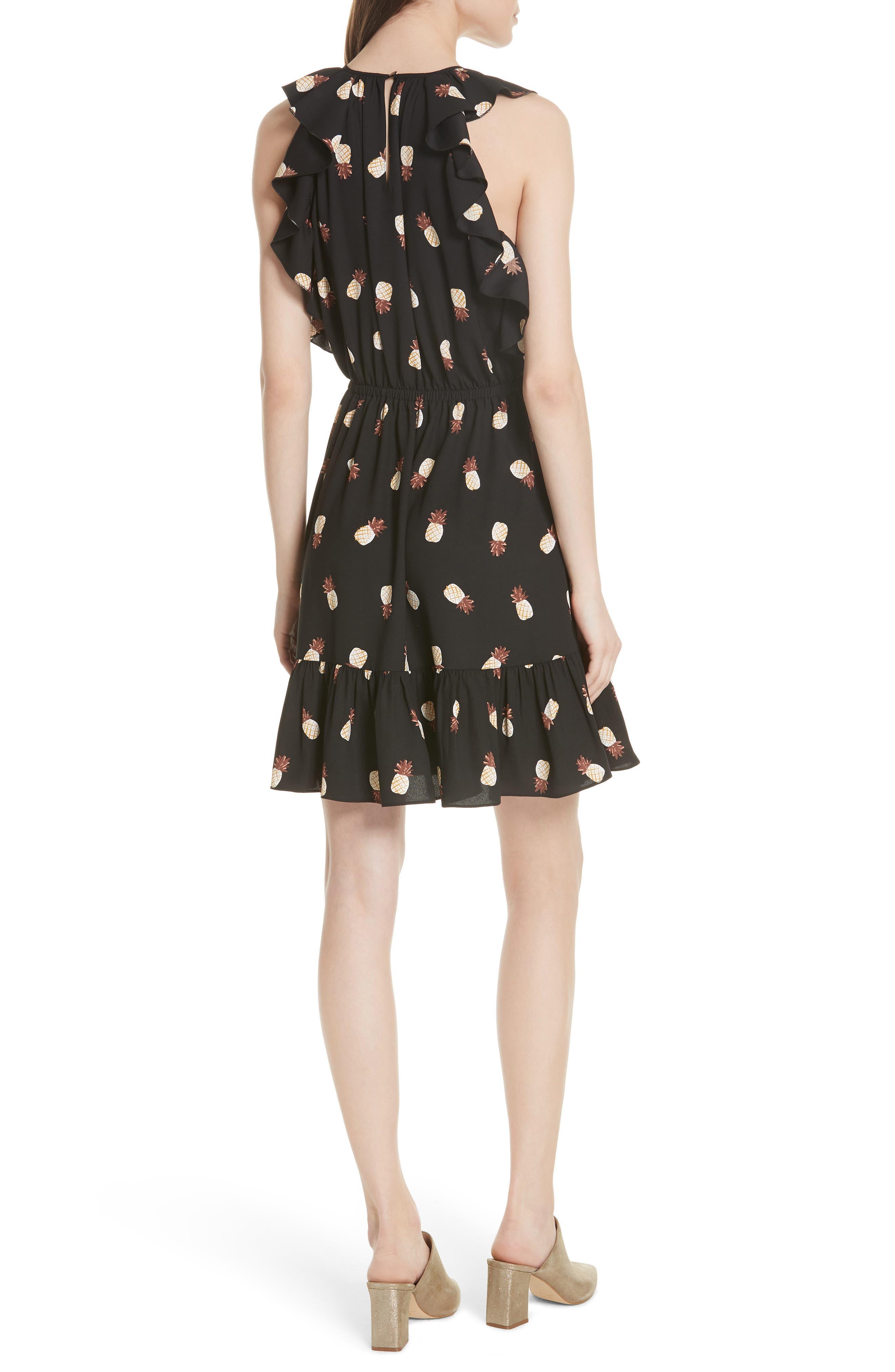 pineapple ruffle dress,                             Alternate thumbnail 2, color,                             Black