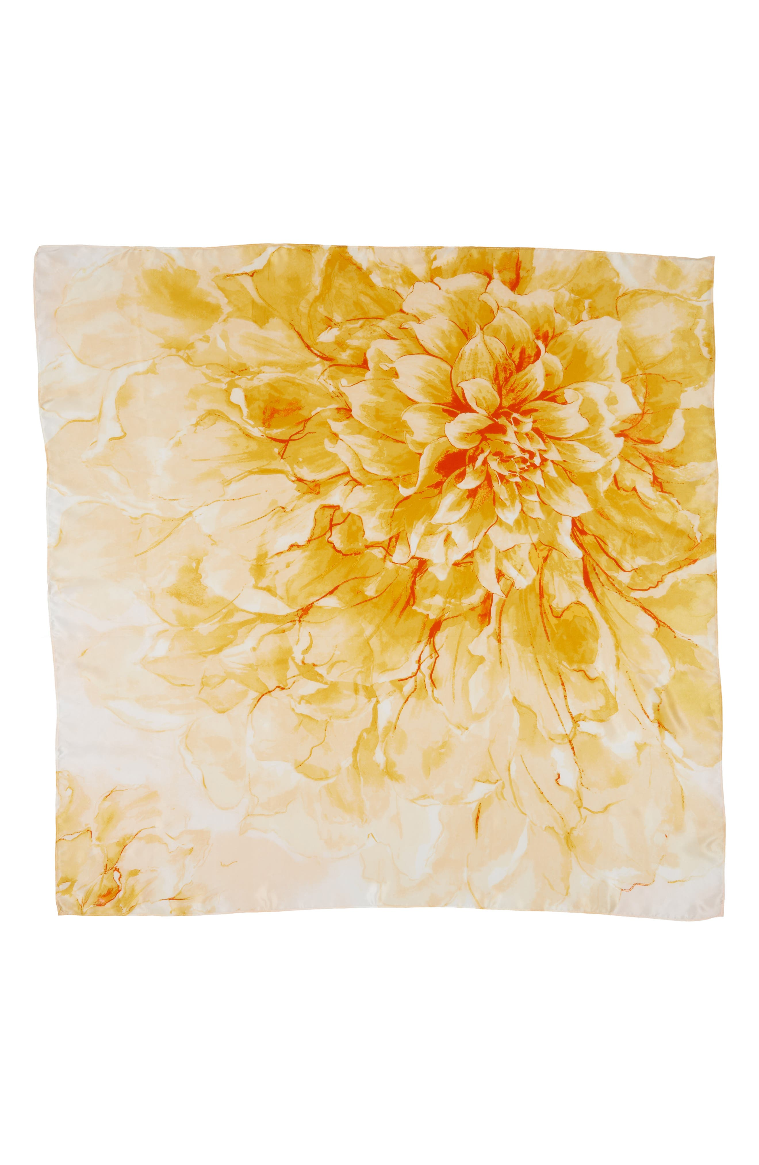 Print Silk Square Scarf,                             Alternate thumbnail 2, color,                             Yellow Hazy Floral