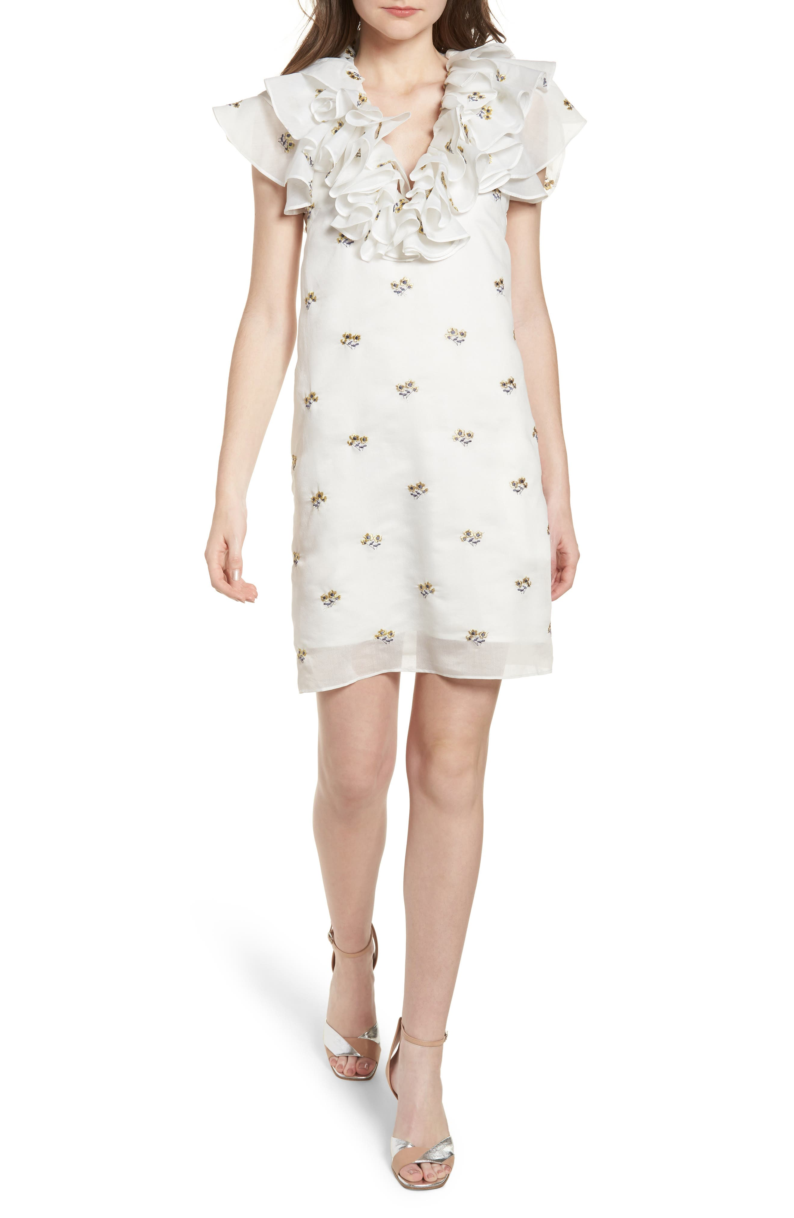 Theseus Embroidered Ruffle Dress,                             Main thumbnail 1, color,                             White