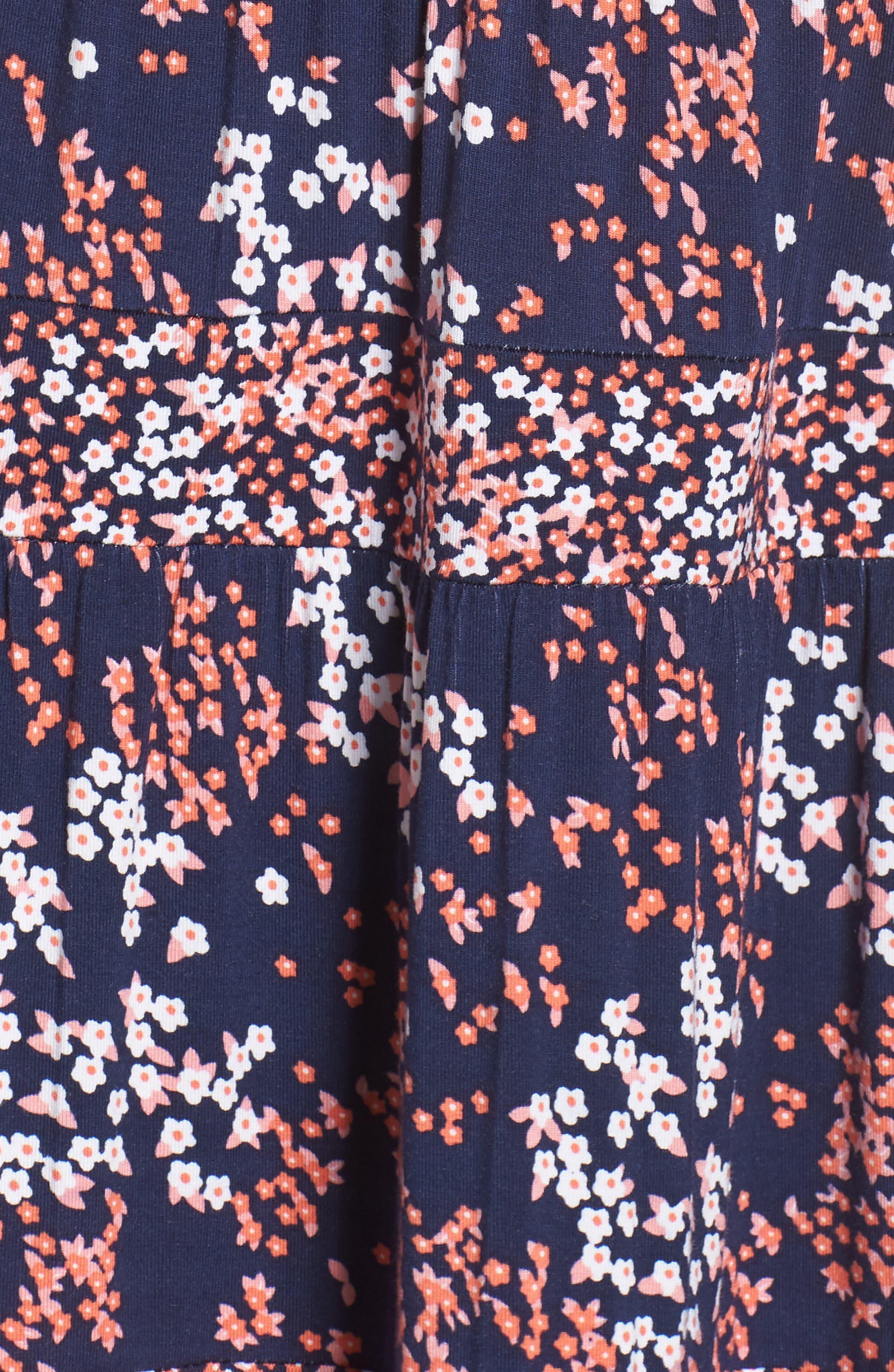 Blooms Border Tiered Dress,                             Alternate thumbnail 6, color,                             True Navy/ Bright Blush