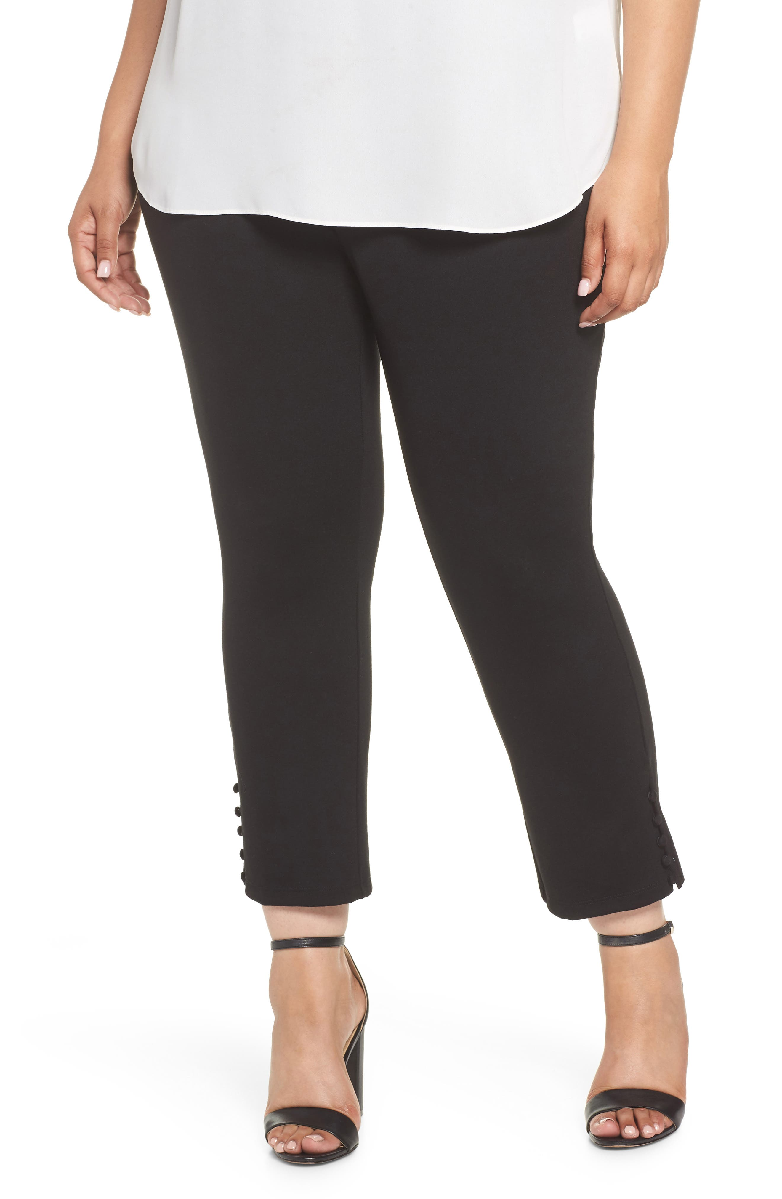 Sejour Ponte Button Detail Ankle Pants (Plus Size)