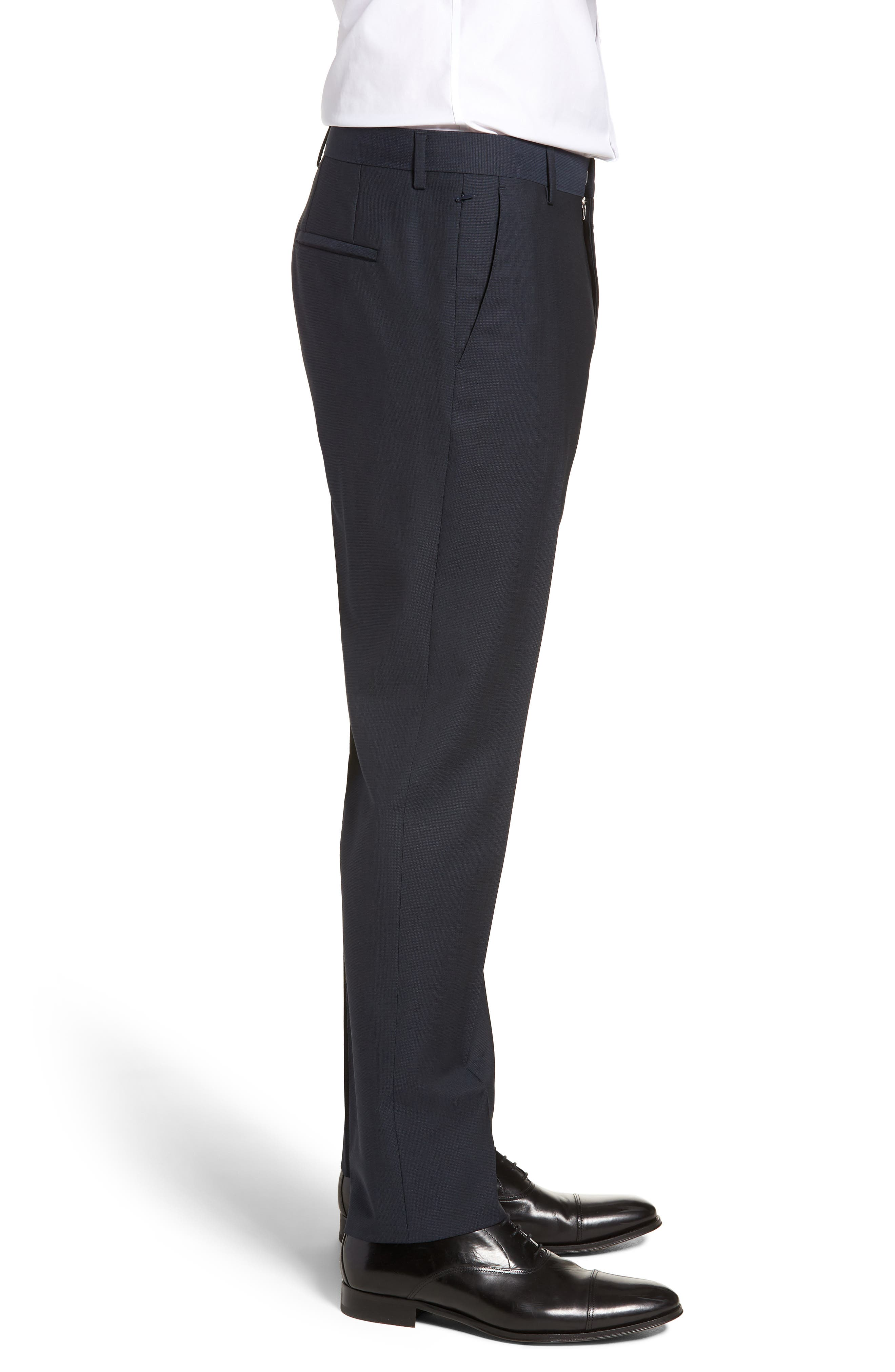 Barnes Flat Front Solid Wool Trousers,                             Alternate thumbnail 3, color,                             Navy