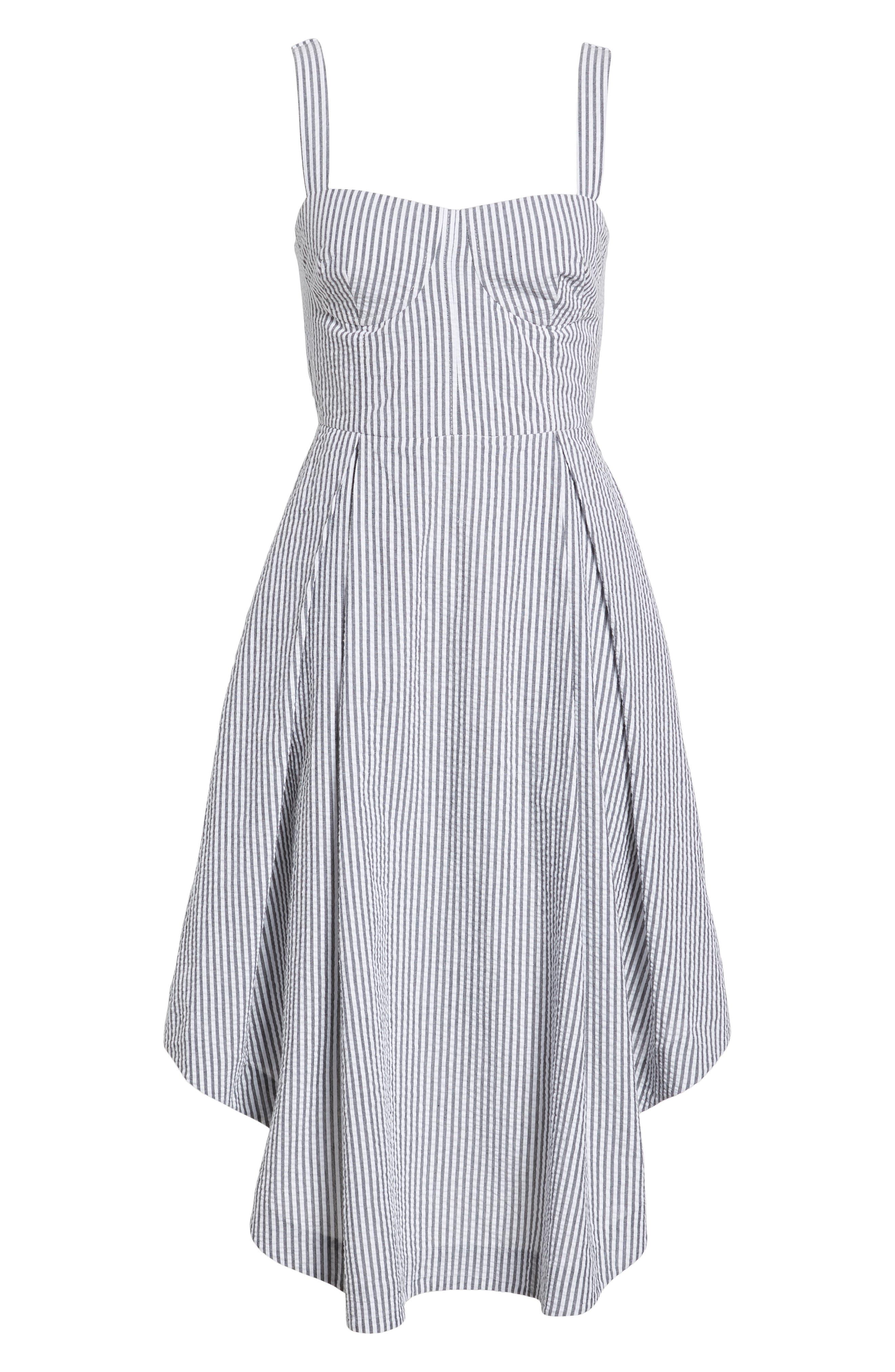 Seersucker Bustier Midi Dress,                             Alternate thumbnail 7, color,                             Black/ White Multi