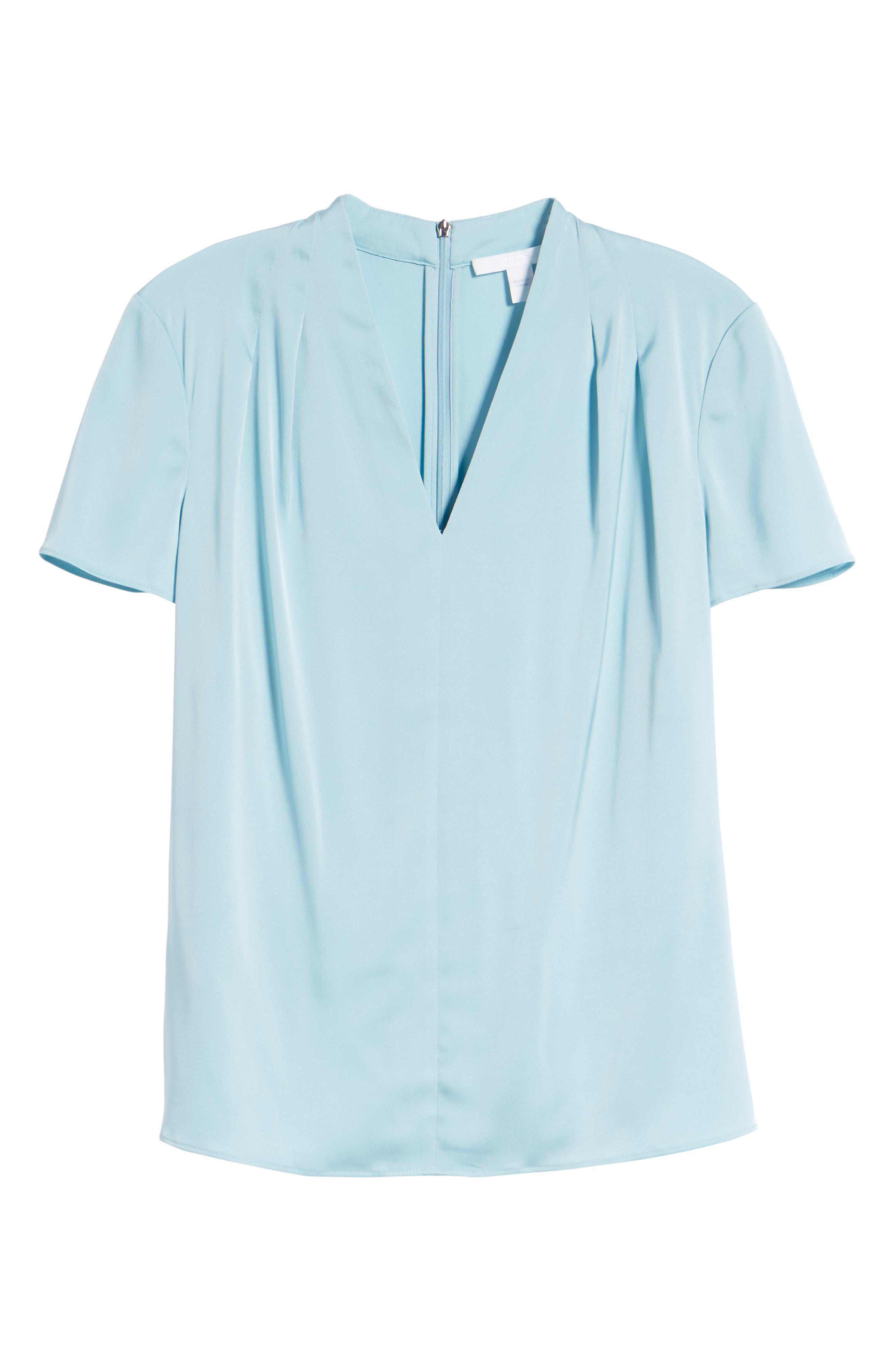 Insina Stretch Silk Blouse,                             Alternate thumbnail 6, color,                             Lagoon Blue