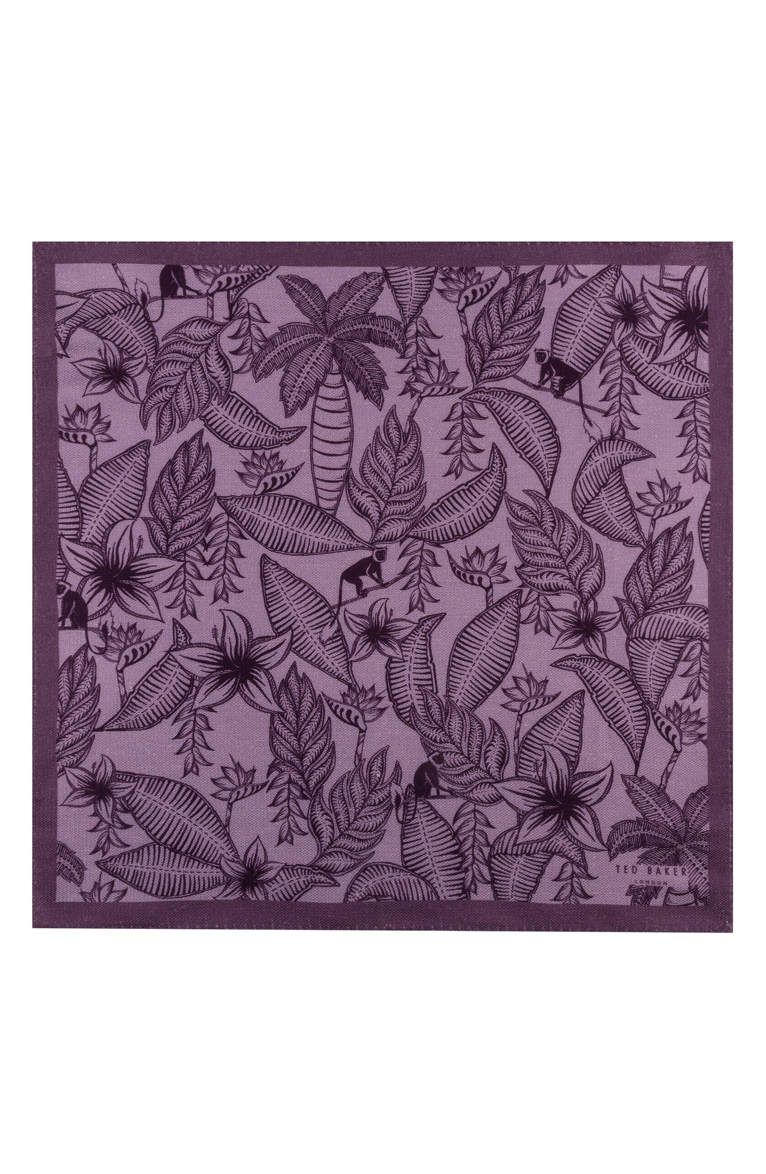 Monkey Botanical Silk Pocket Square,                             Alternate thumbnail 2, color,                             Purple