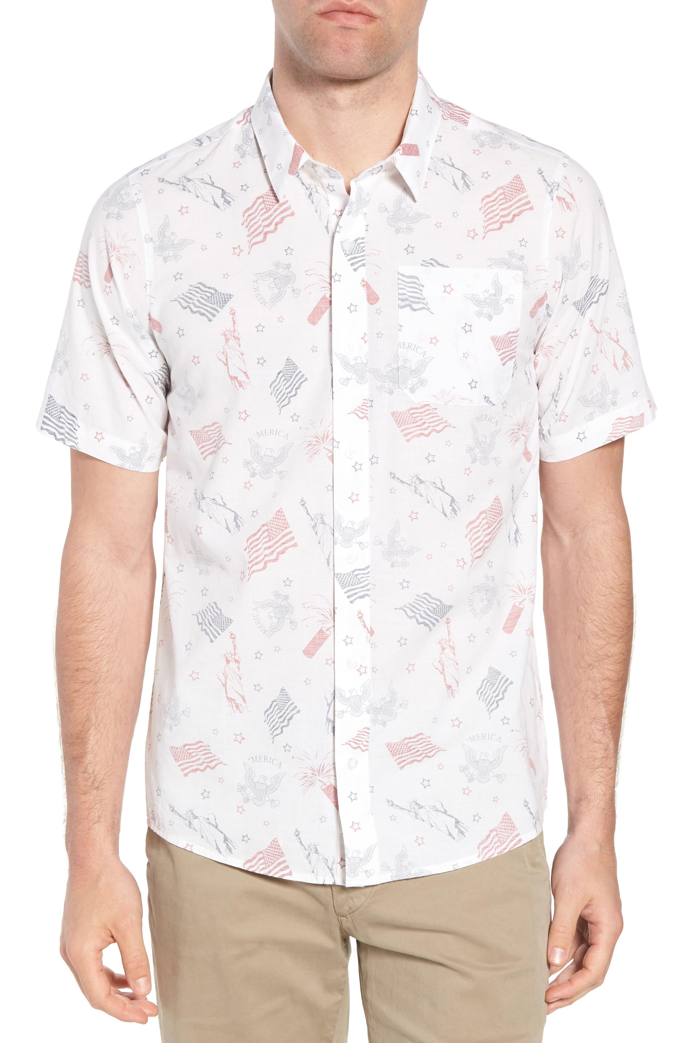 Black Cat Regular Fit Short Sleeve Sport Shirt,                             Main thumbnail 1, color,                             White