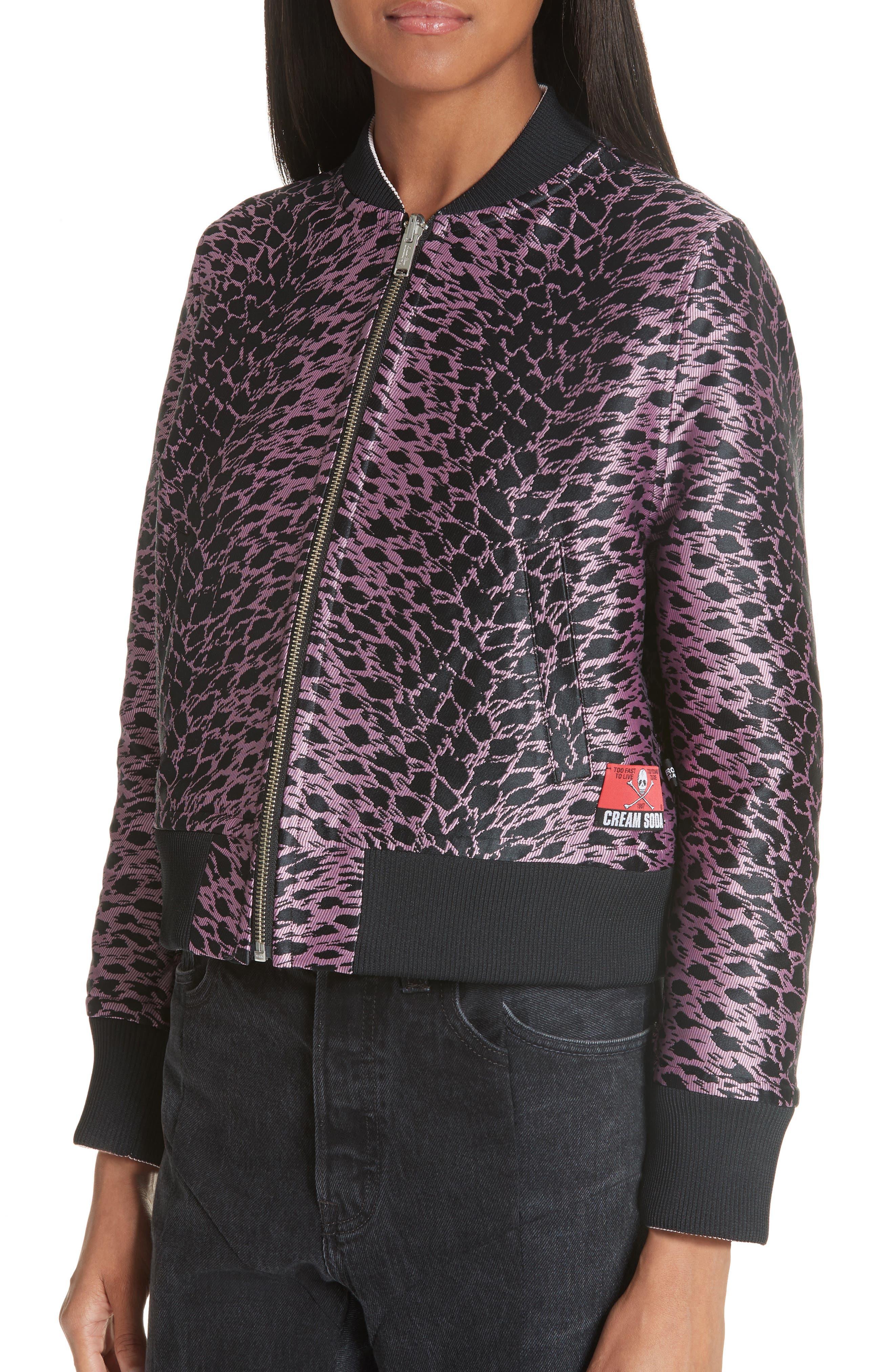 Reversible Bomber Jacket,                             Alternate thumbnail 5, color,                             Pink/ Black